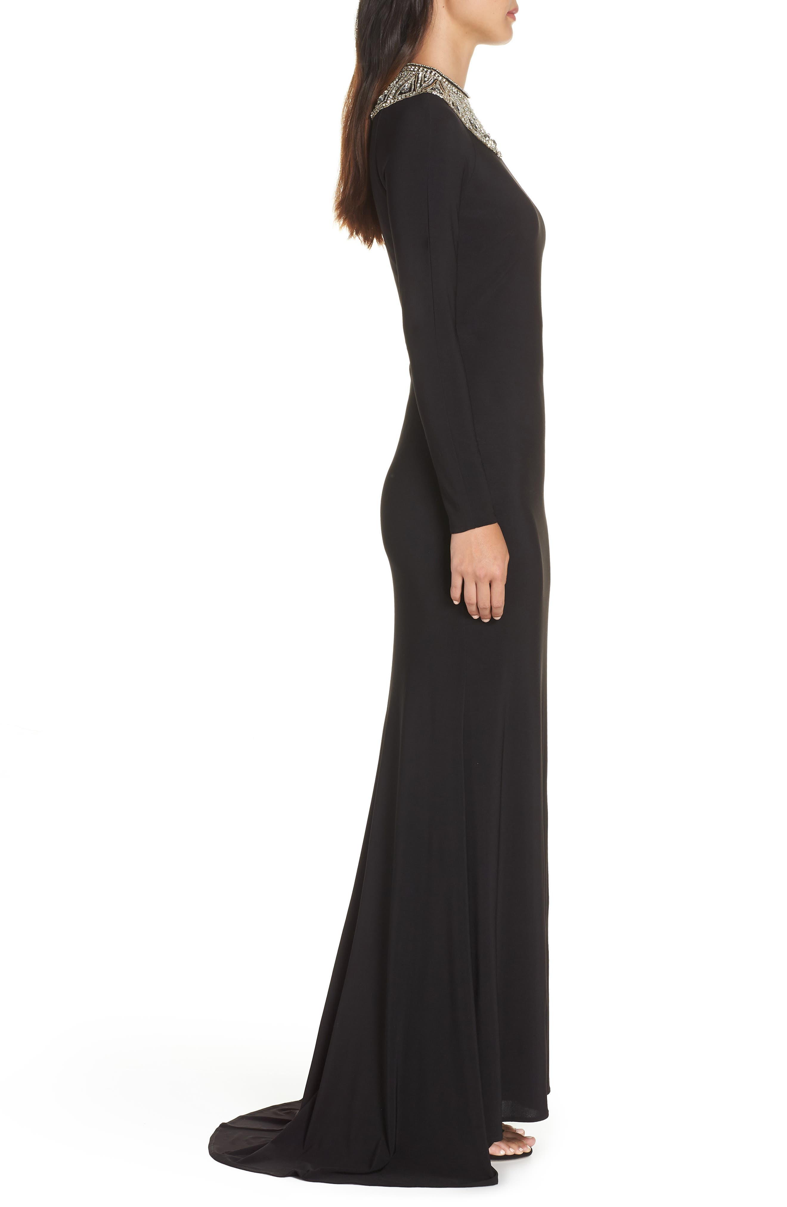 IEENA FOR MAC DUGGAL, Mac Duggal Beaded Collar Jersey Gown, Alternate thumbnail 4, color, BLACK
