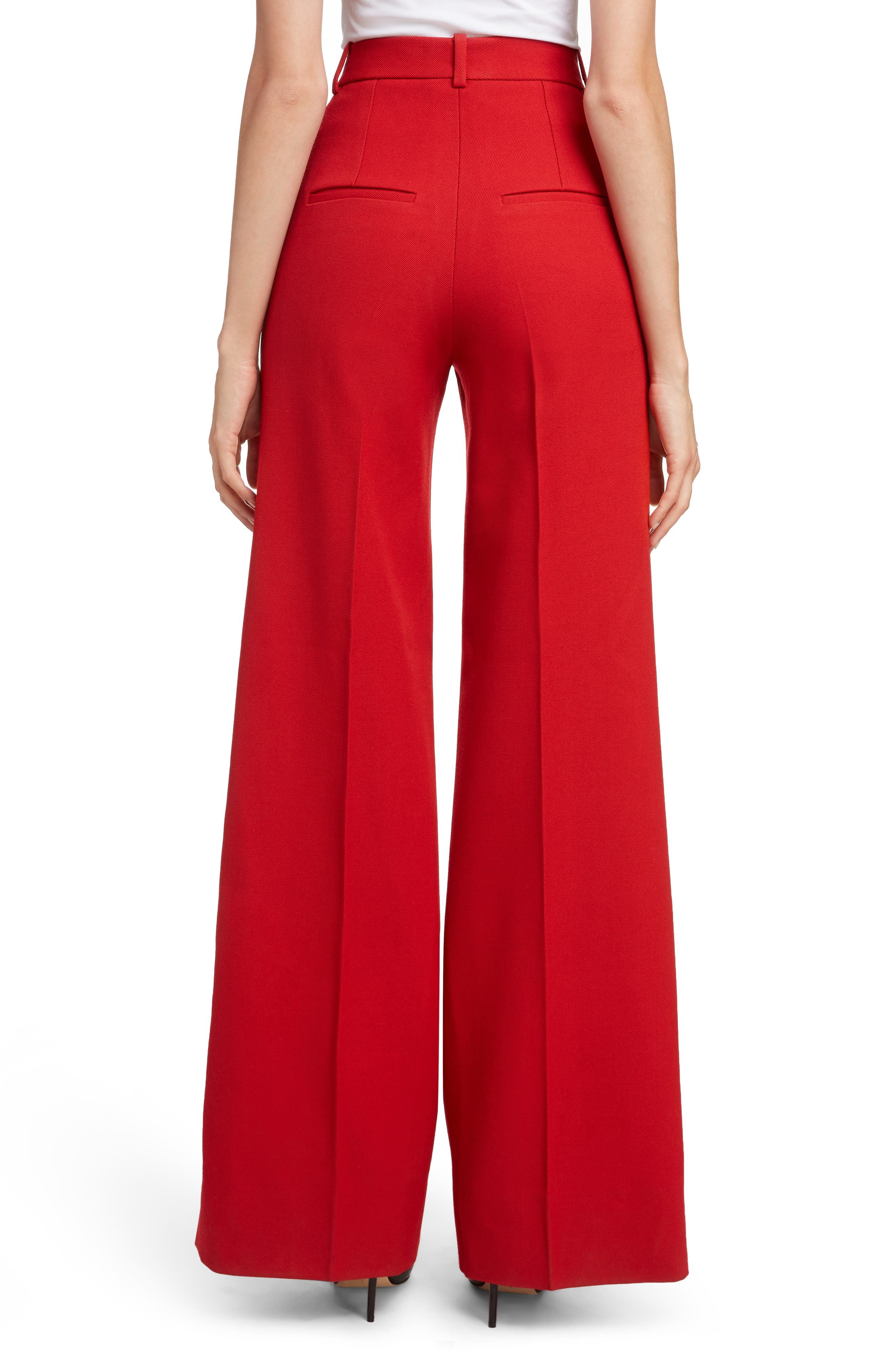 VICTORIA BECKHAM, High Waist Wool Pants, Alternate thumbnail 2, color, RED