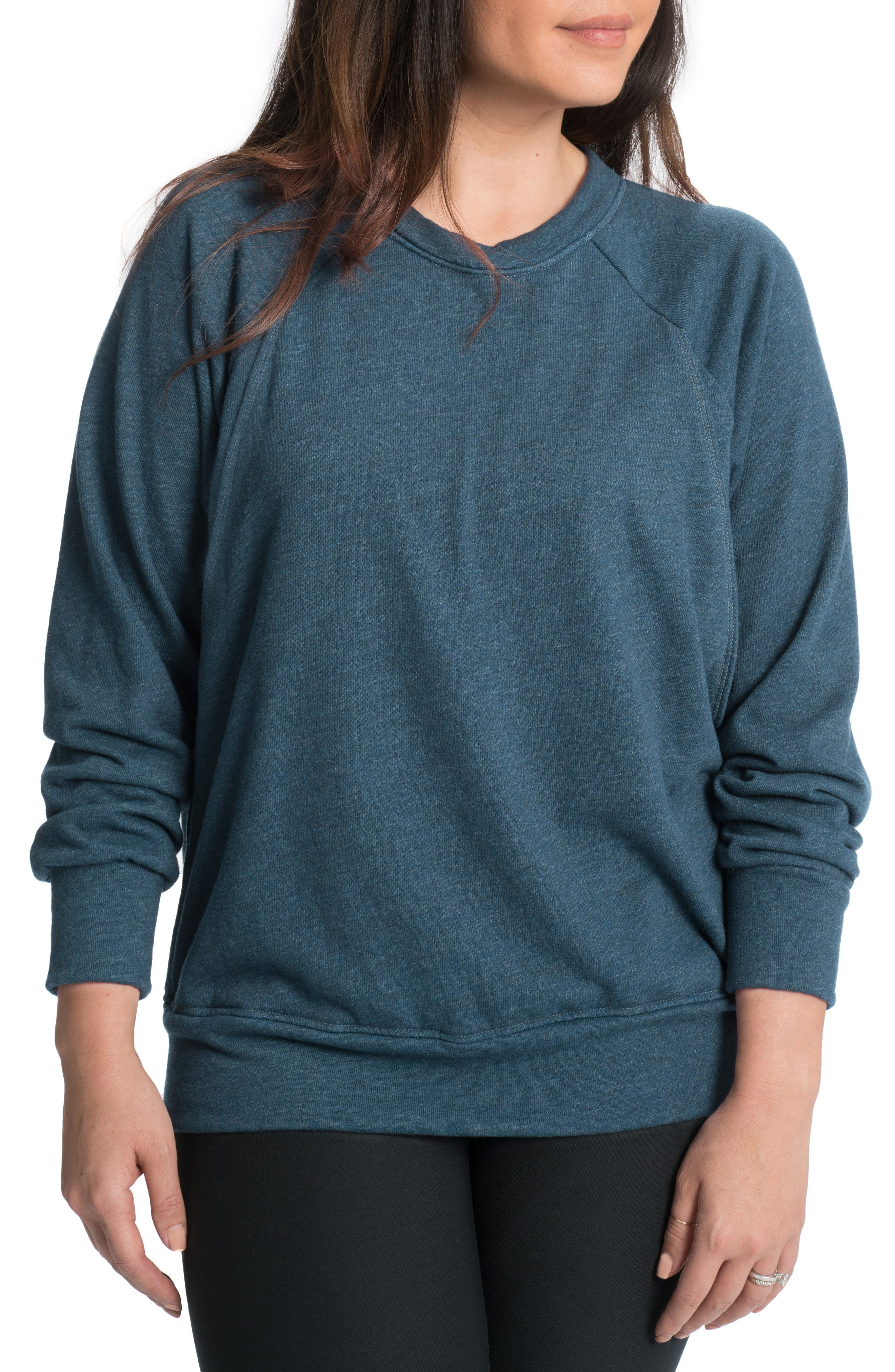 BUN MATERNITY Relaxed Daily Maternity/Nursing Sweatshirt, Main, color, 001