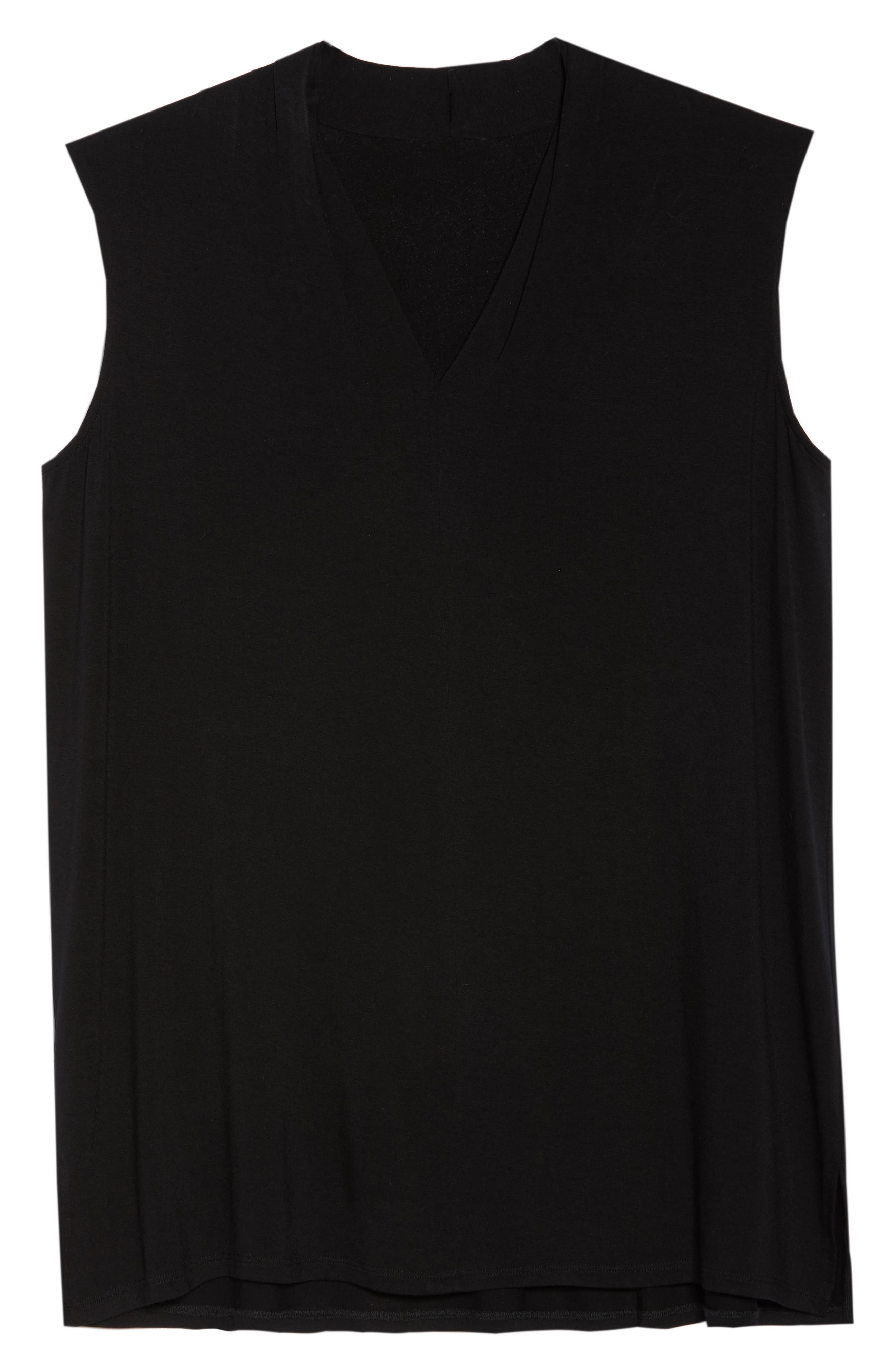 VINCE CAMUTO, Sleeveless V-Neck Knit Blouse, Alternate thumbnail 7, color, RICH BLACK