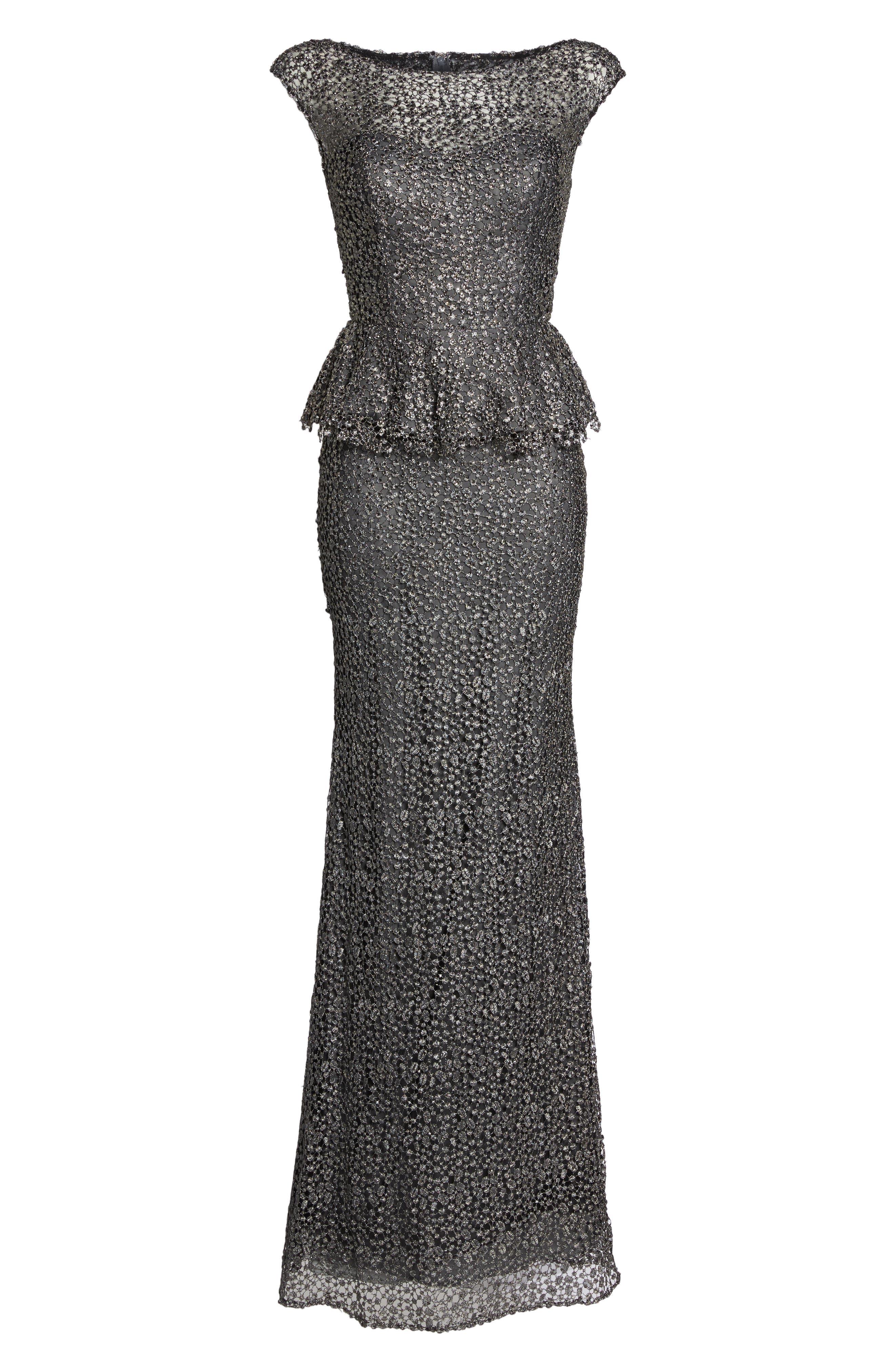 LA FEMME, Embellished Lace Peplum Gown, Alternate thumbnail 6, color, GUNMETAL