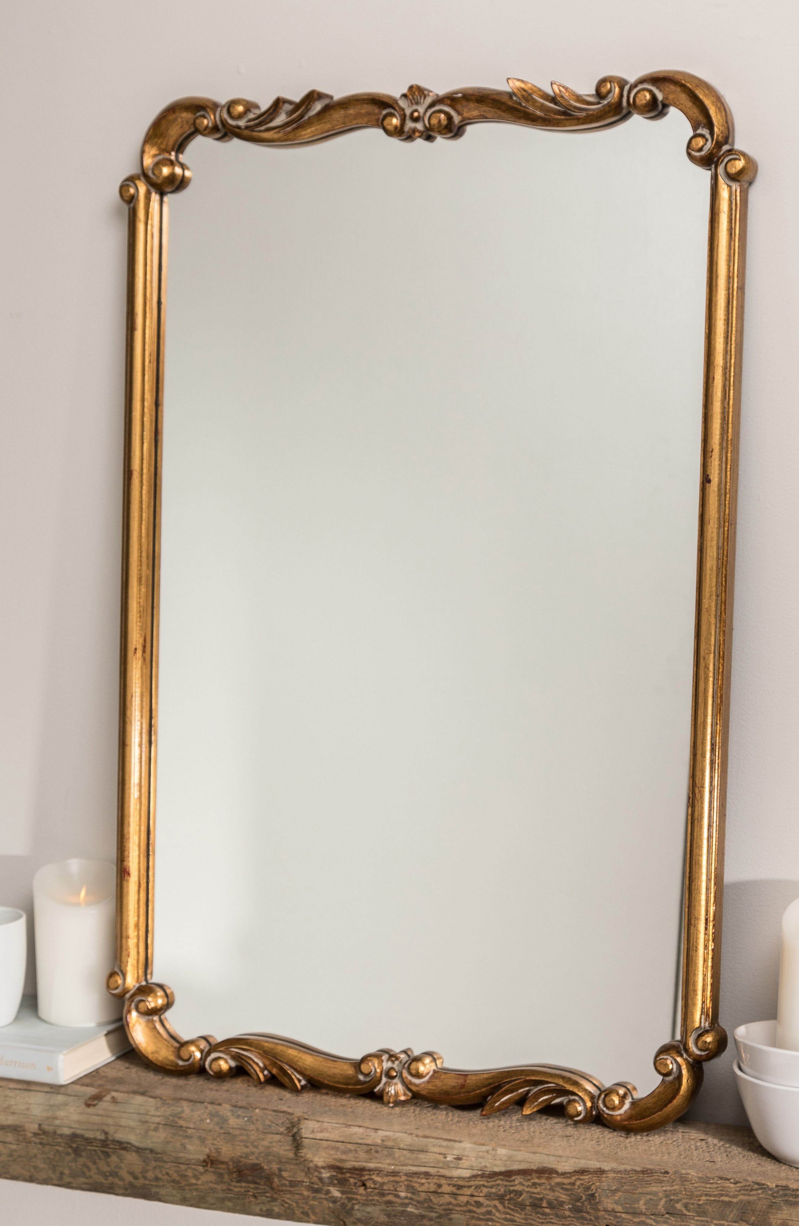 GEORGE AND CO, Antiqued Wall Mirror, Alternate thumbnail 3, color, METALLIC GOLD