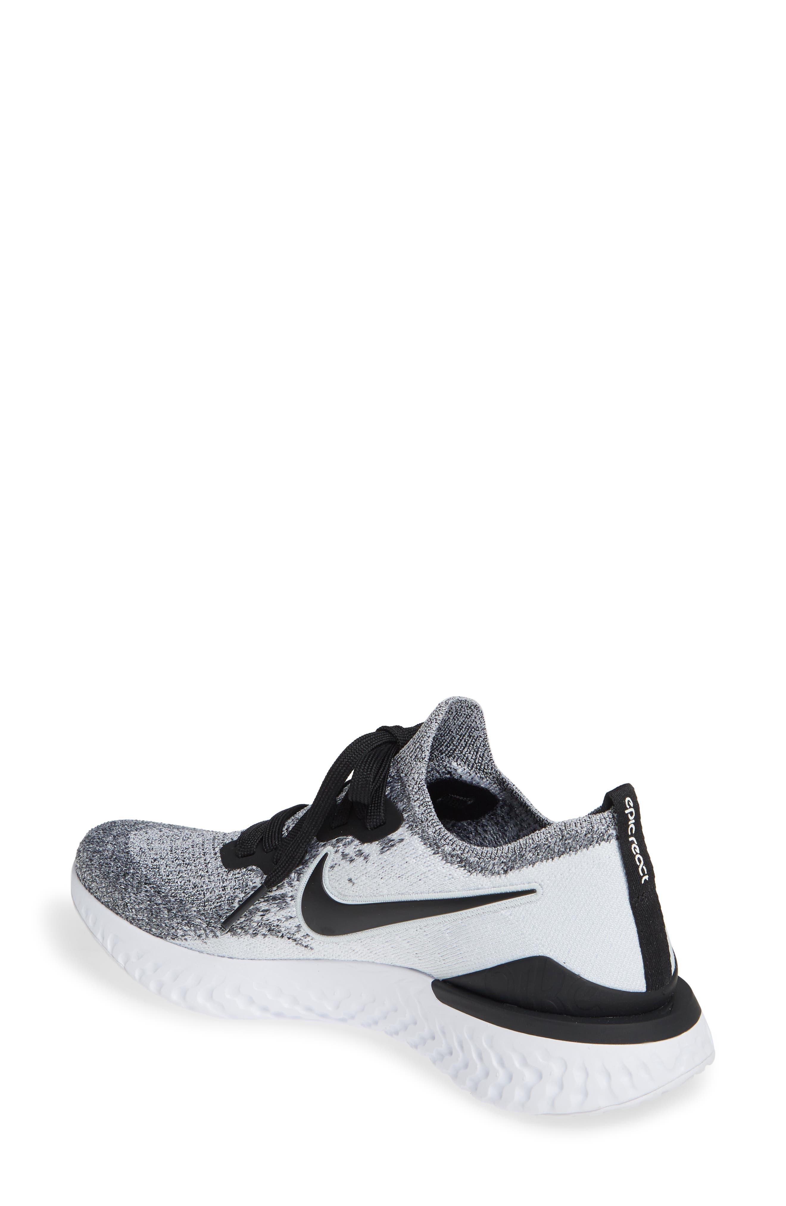 NIKE, Epic React Flyknit 2 Running Shoe, Alternate thumbnail 2, color, WHITE/ BLACK/ PURE PLATINUM