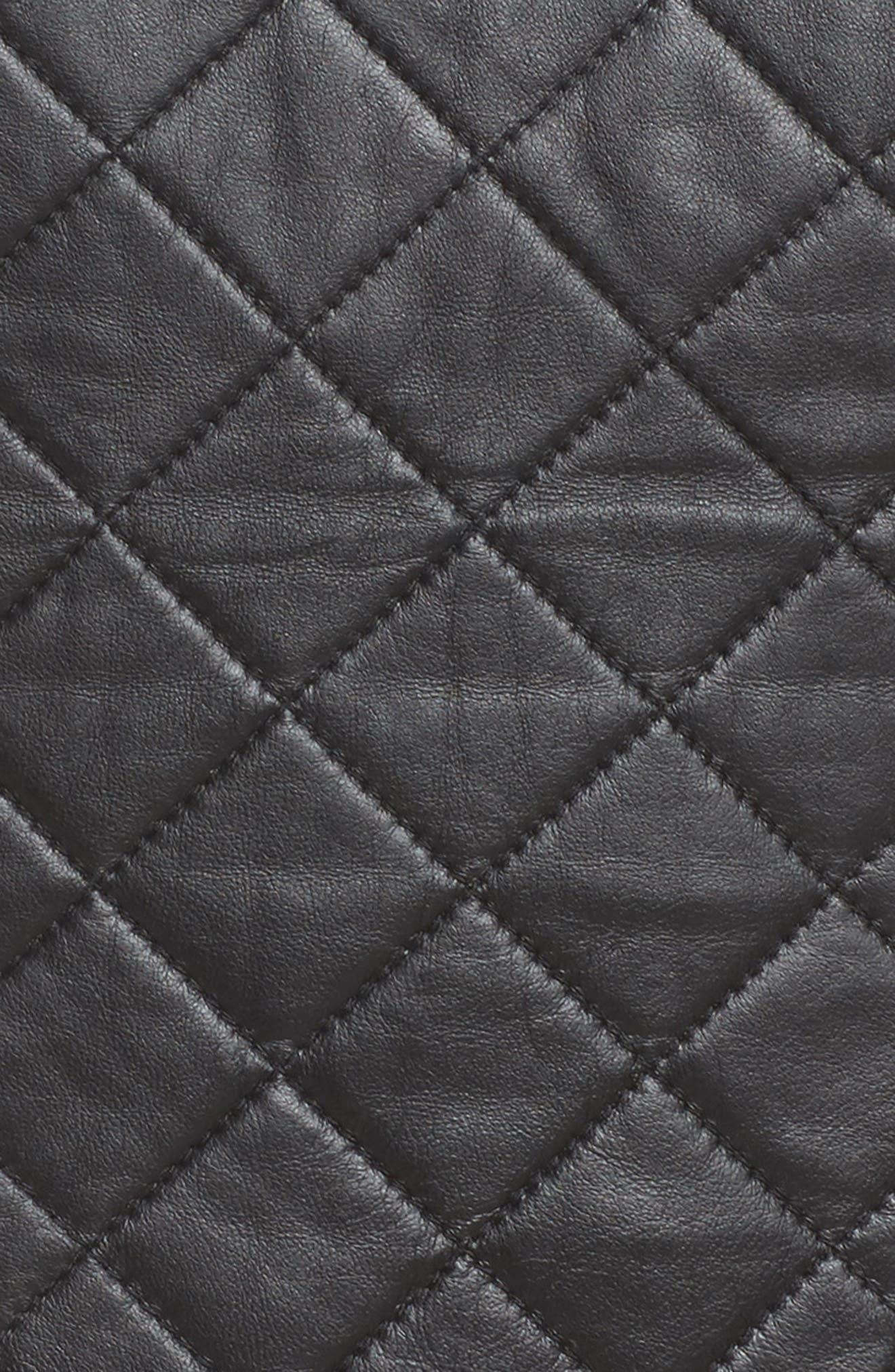 BLANC NOIR, Leather & Mesh Moto Jacket, Alternate thumbnail 7, color, BLACK