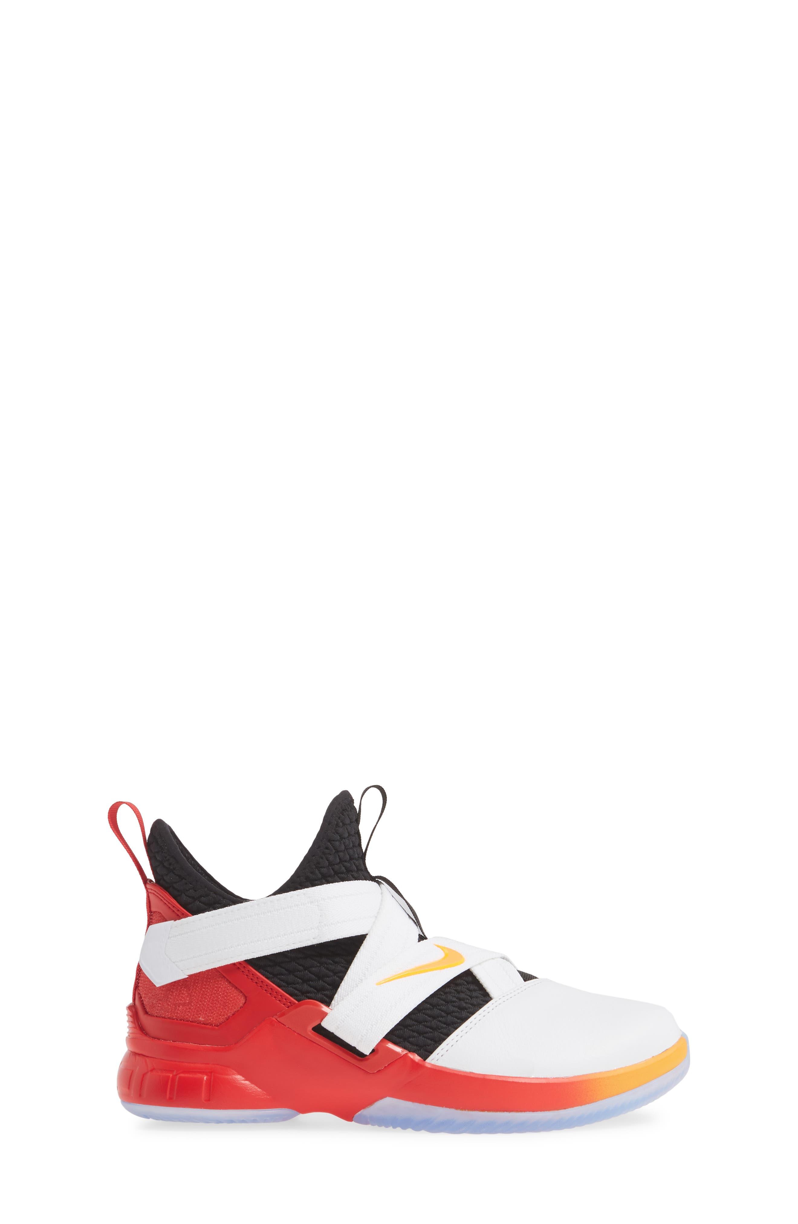 NIKE, LeBron Soldier XII Basketball Shoe, Alternate thumbnail 3, color, WHITE/ LASER ORANGE-BLACK-RED