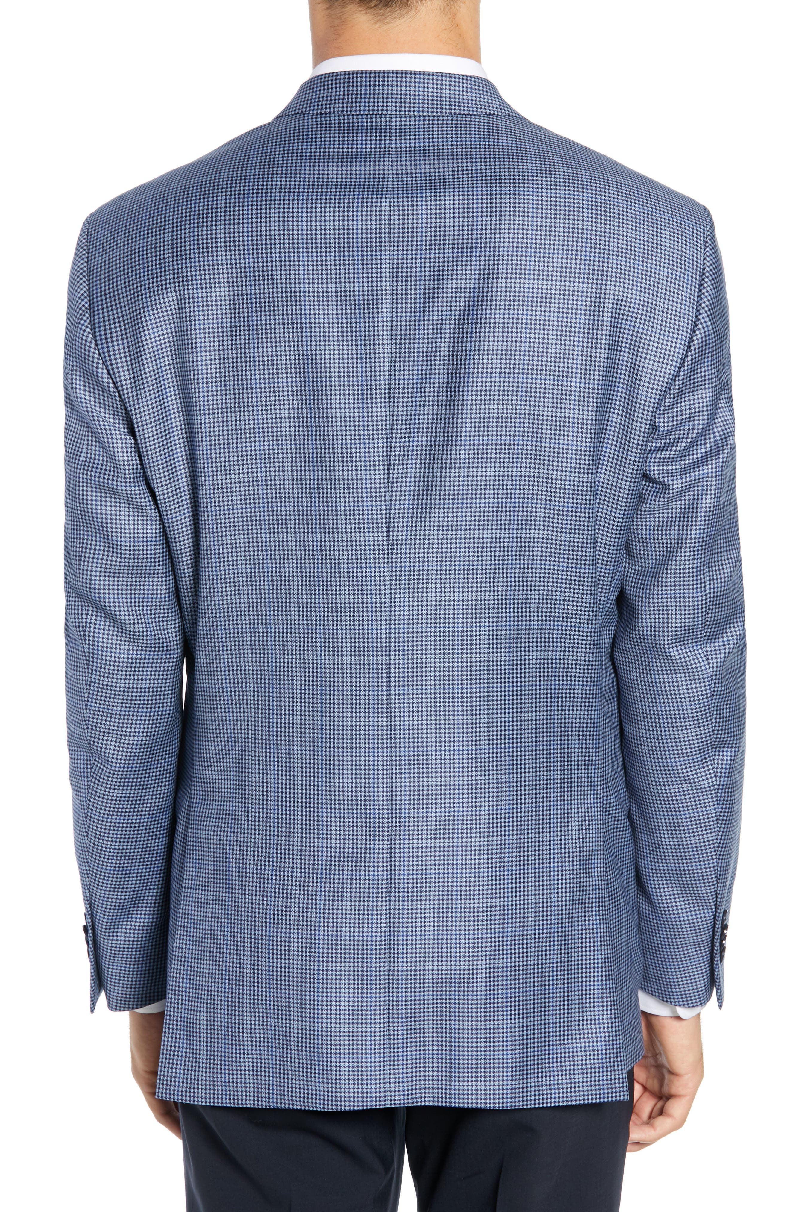 PETER MILLAR, Classic Fit Houndstooth Sport Coat, Alternate thumbnail 2, color, LIGHT BLUE