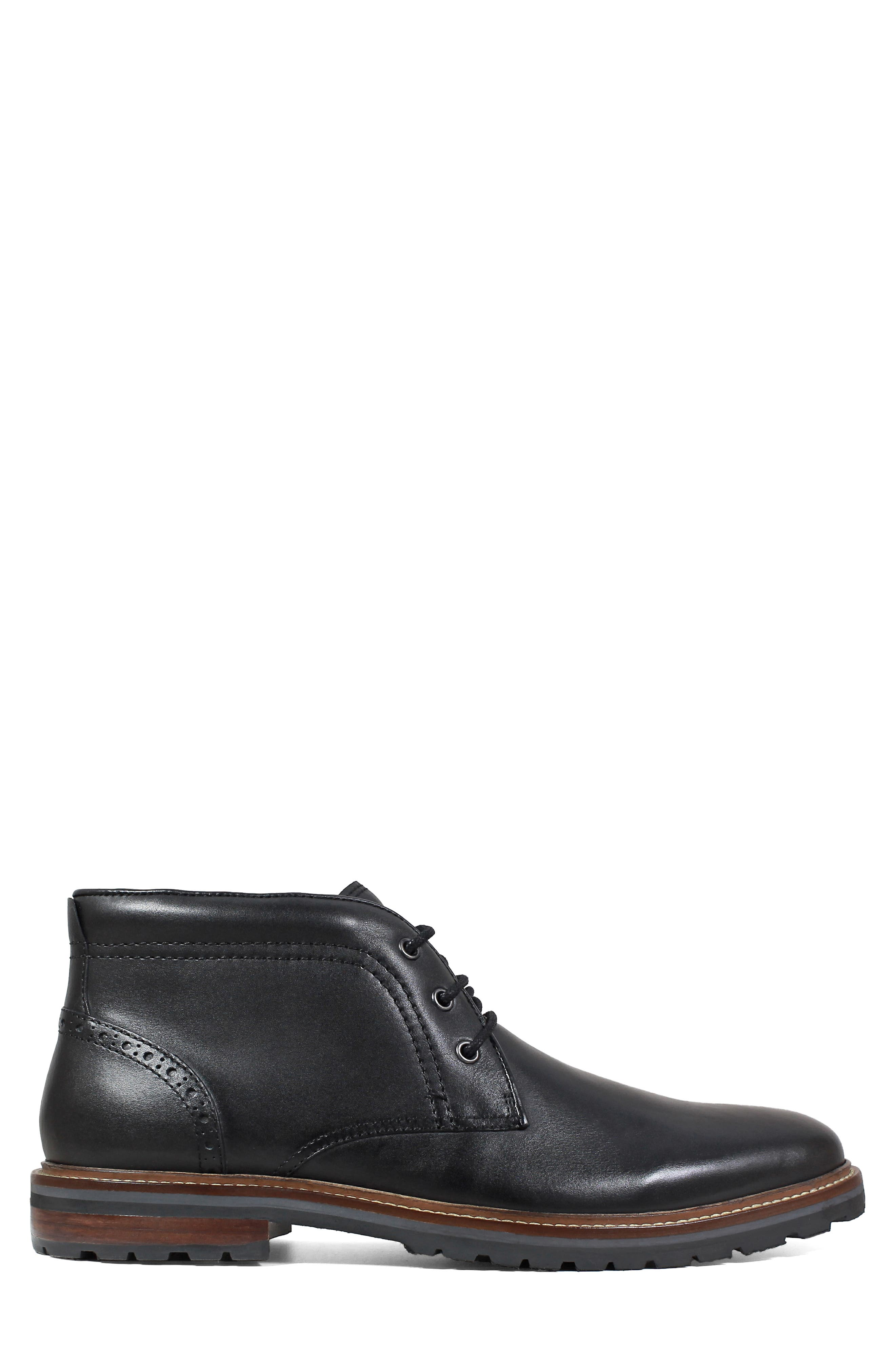 FLORSHEIM, Estabrook Lugged Chukka Boot, Alternate thumbnail 3, color, BLACK LEATHER