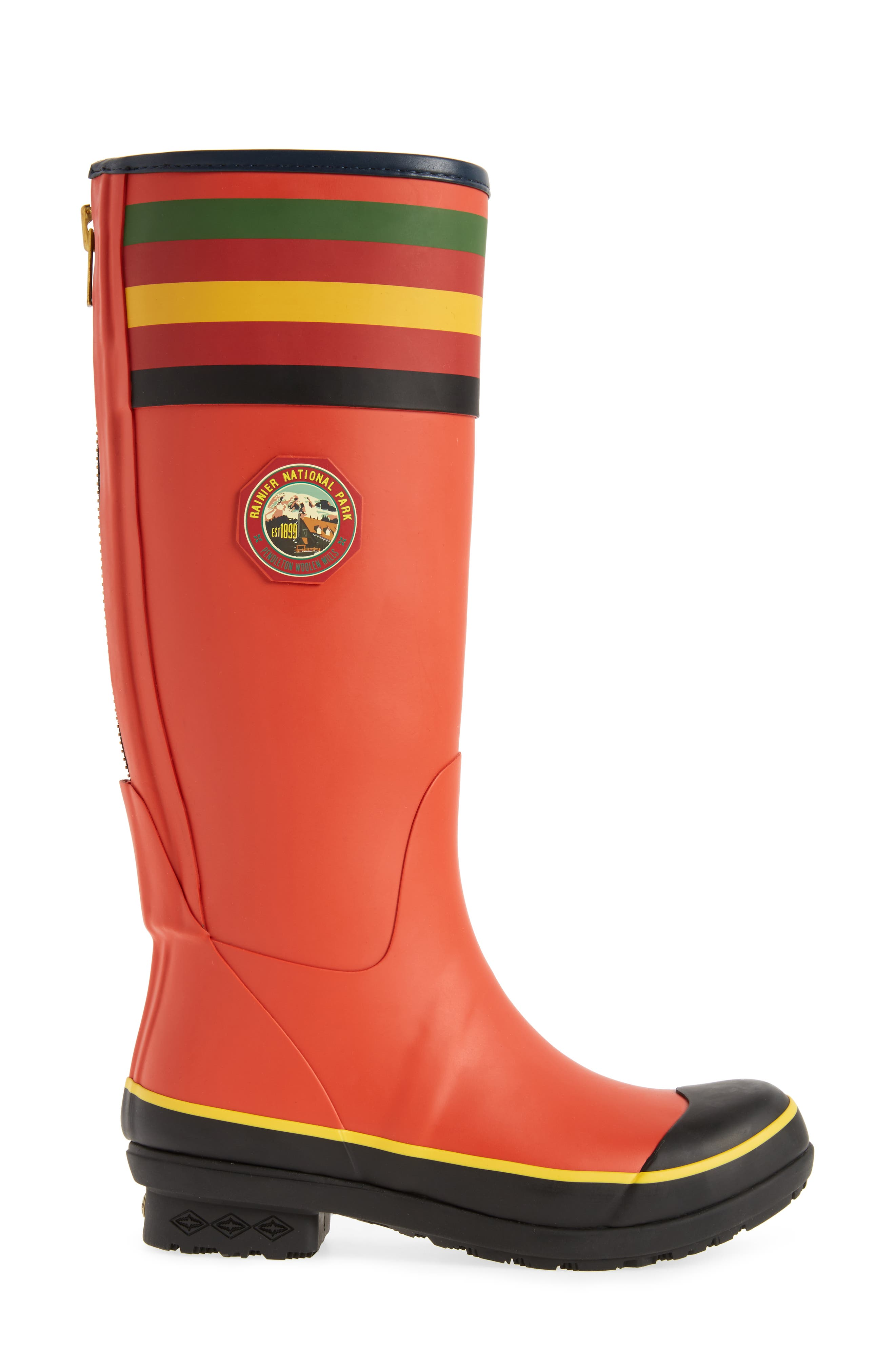 PENDLETON, Rainier National Park Tall Rain Boot, Alternate thumbnail 3, color, RED