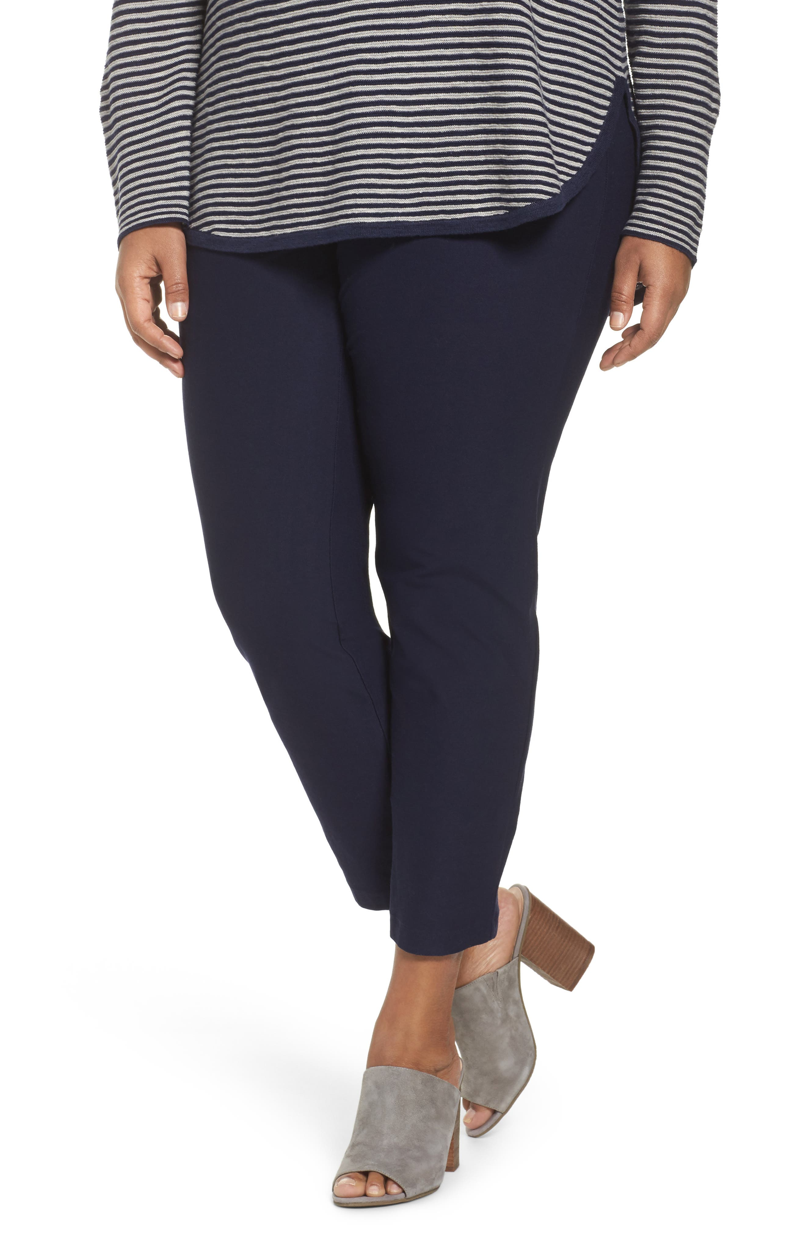 EILEEN FISHER Crepe Ankle Pants, Main, color, MIDNIGHT