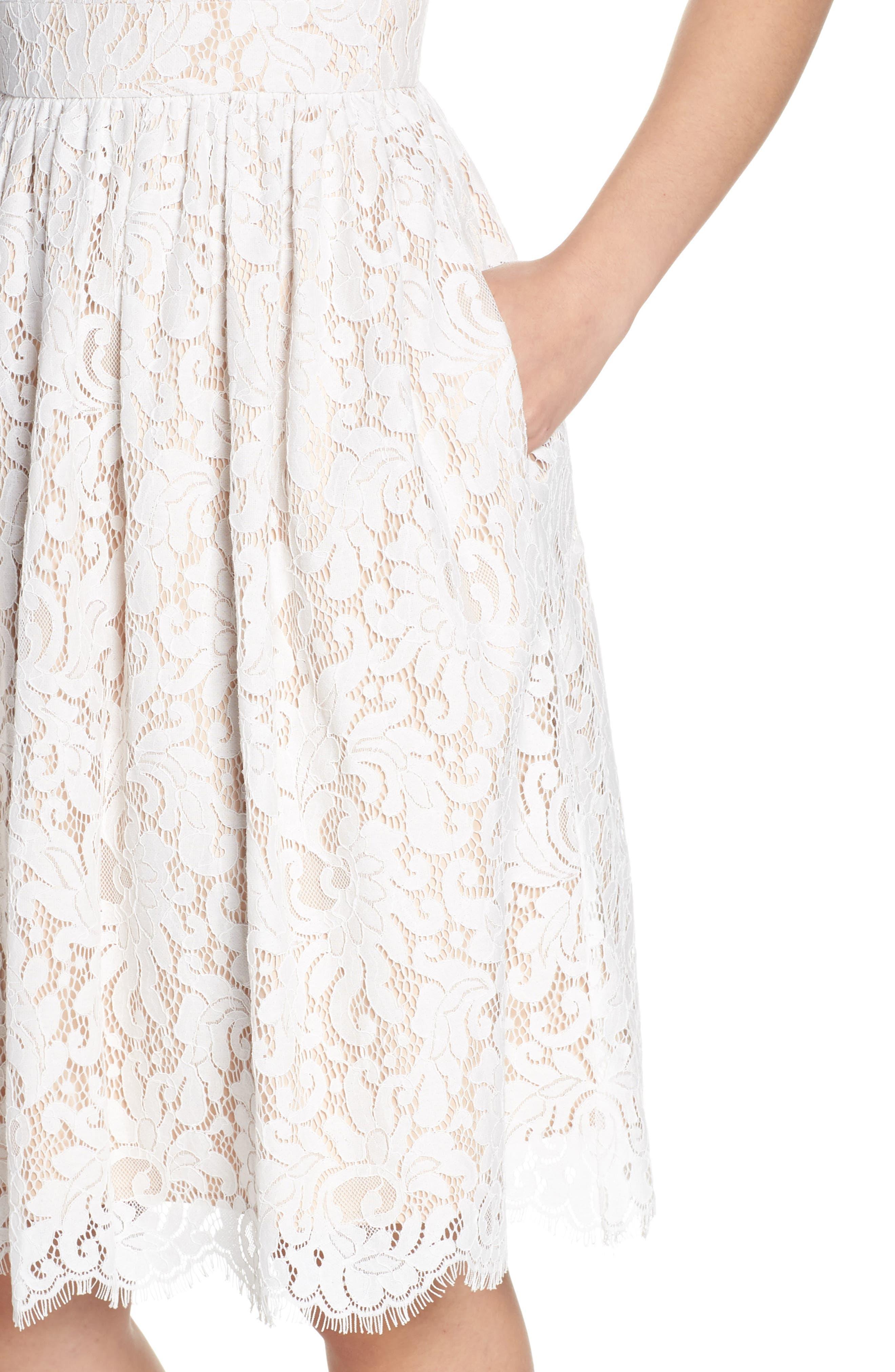 ELIZA J, Lace Fit & Flare Dress, Alternate thumbnail 5, color, IVORY