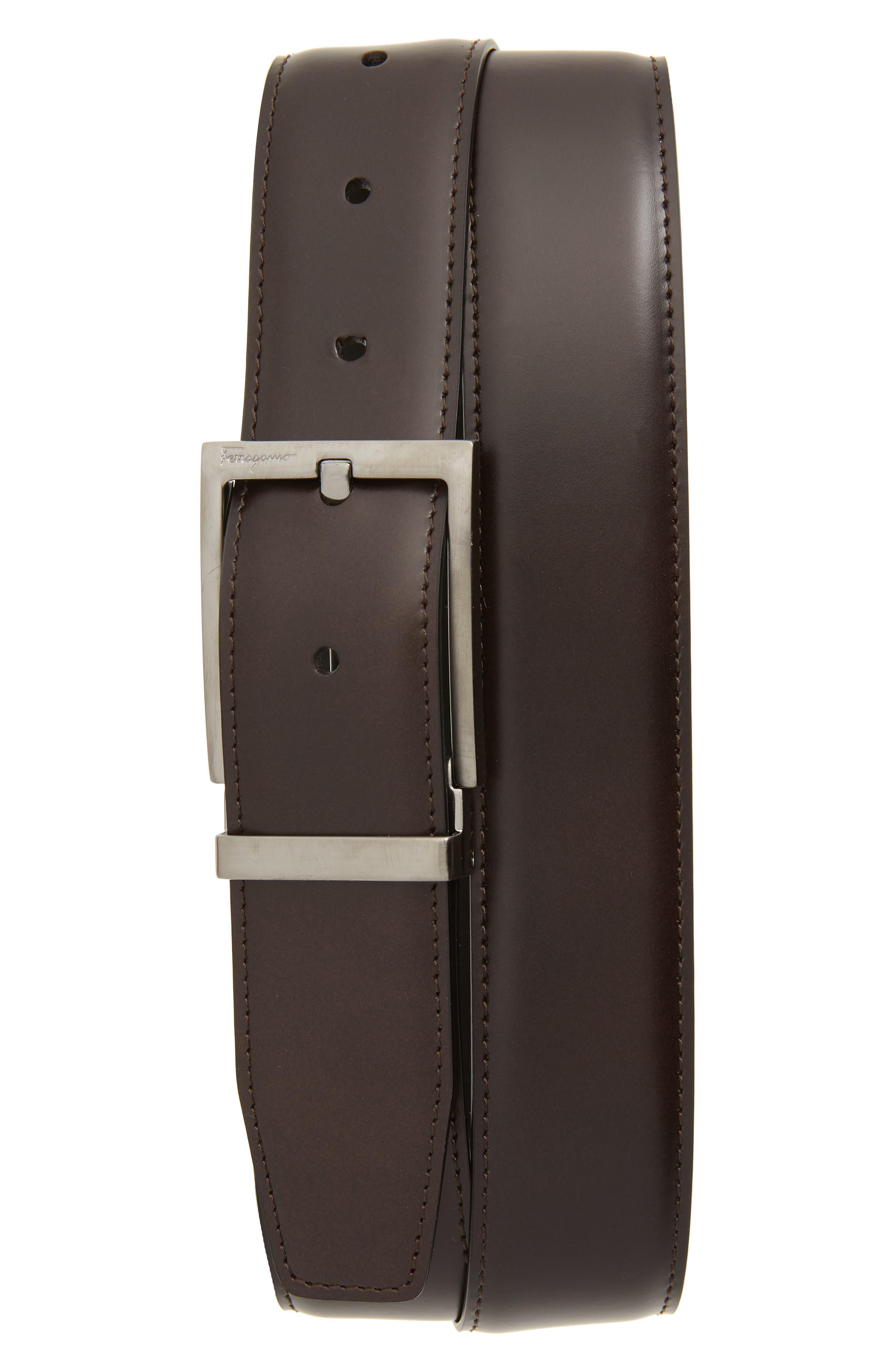 SALVATORE FERRAGAMO, Reversible Leather Belt, Main thumbnail 1, color, AFRICA/ NERO