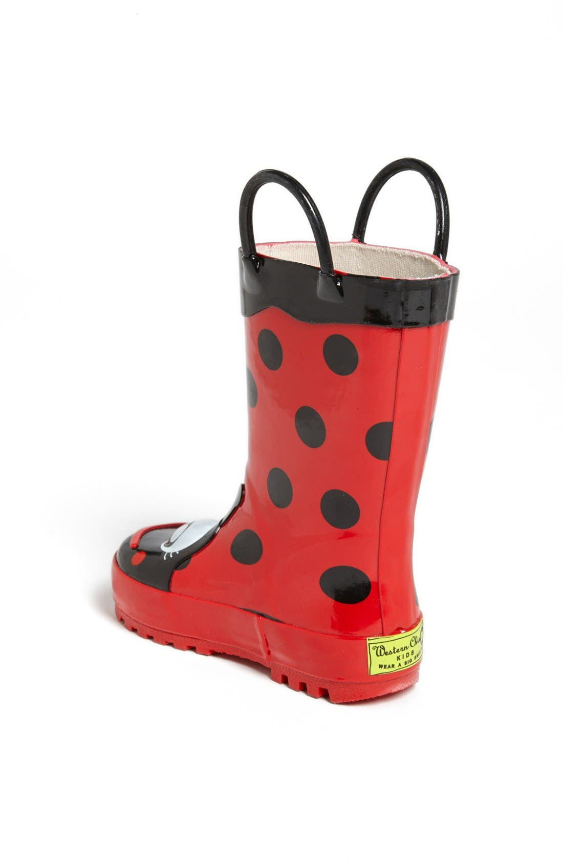 WESTERN CHIEF, Ladybug Waterproof Rain Boot, Alternate thumbnail 4, color, RED