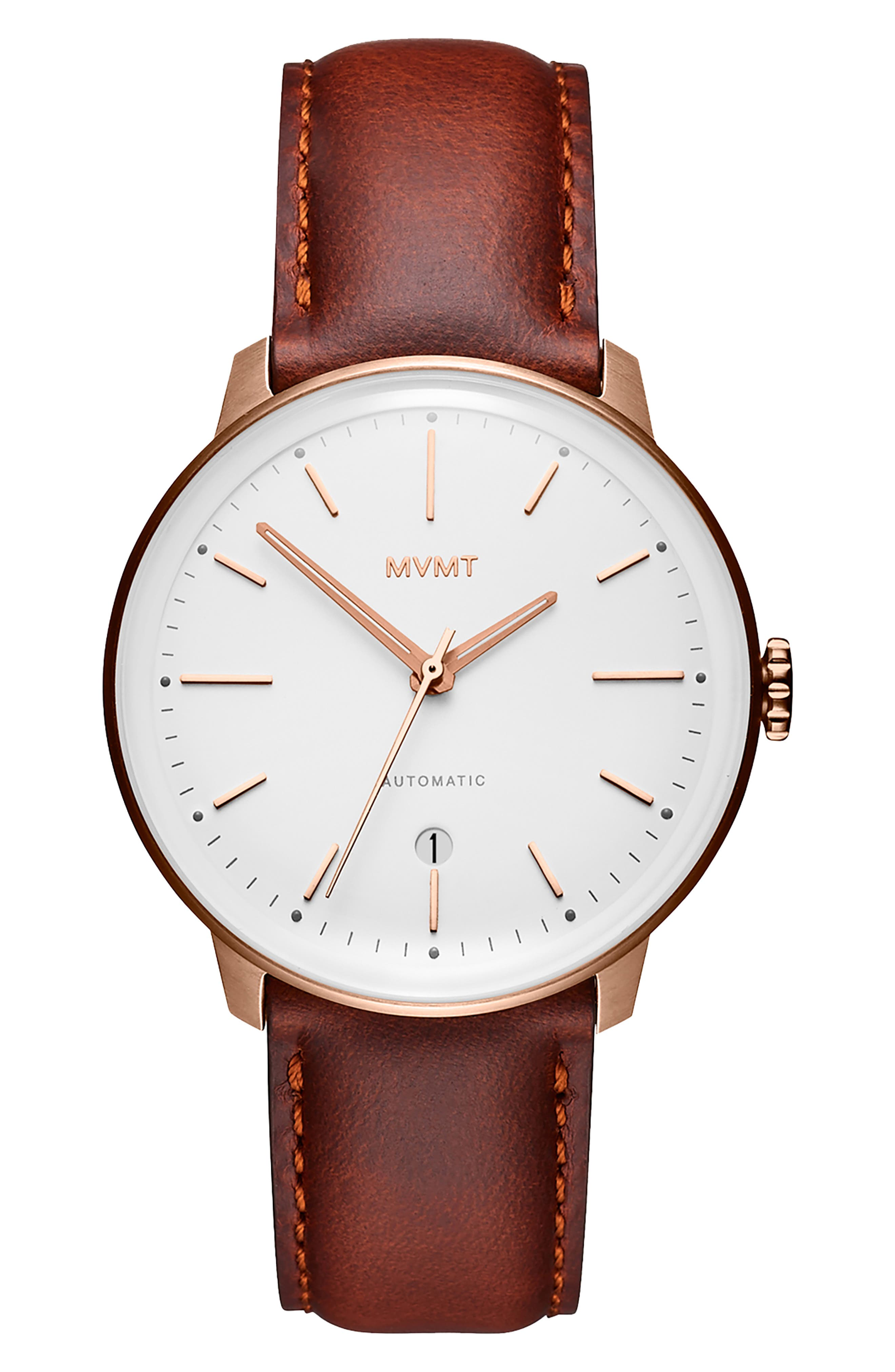 MVMT Arc Automatic Leather Strap Watch, Main, color, WHITE/ NATURAL