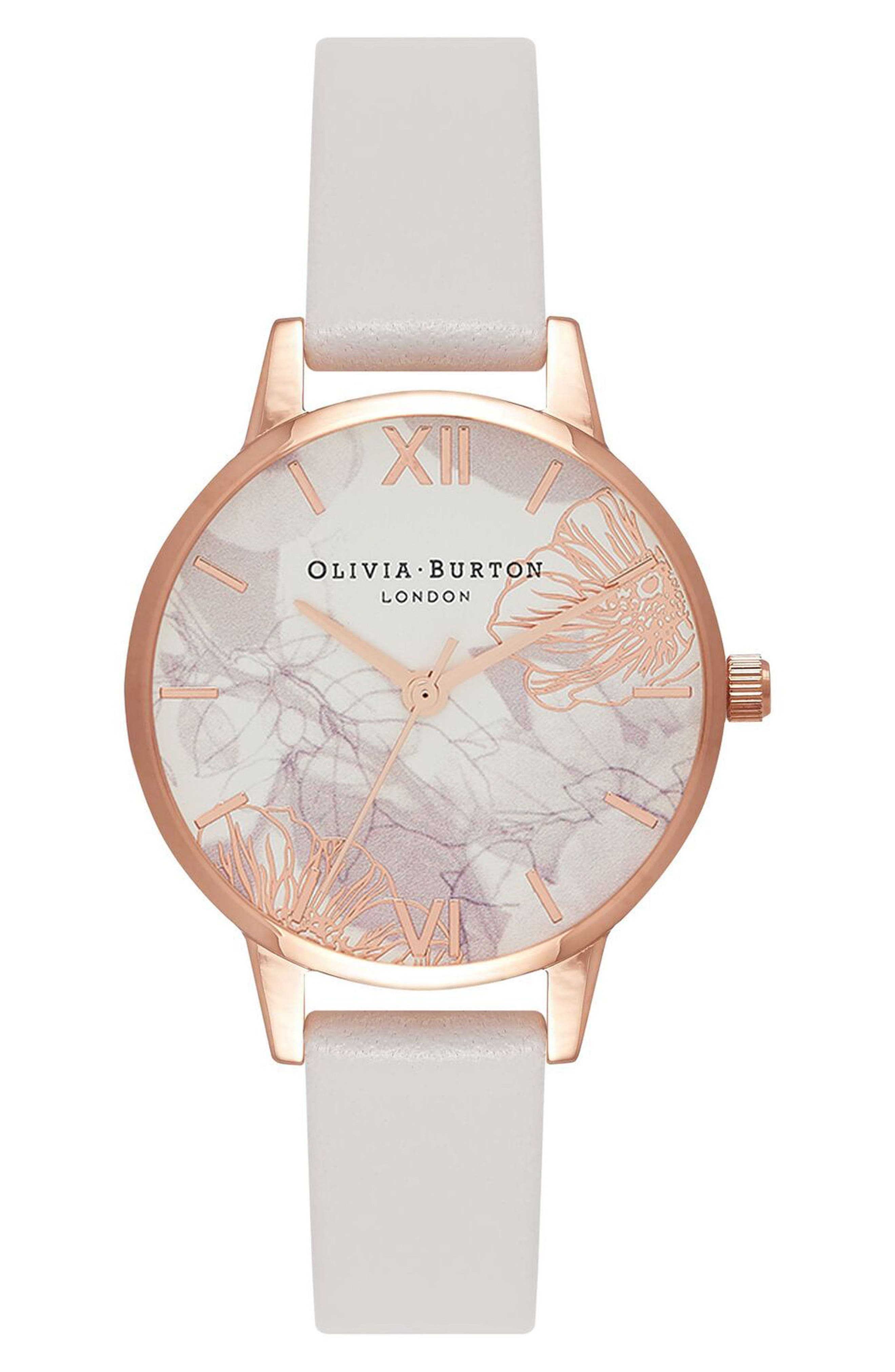 OLIVIA BURTON, Abstract Florals Leather Strap Watch, 30mm, Main thumbnail 1, color, BLUSH/ ROSE GOLD