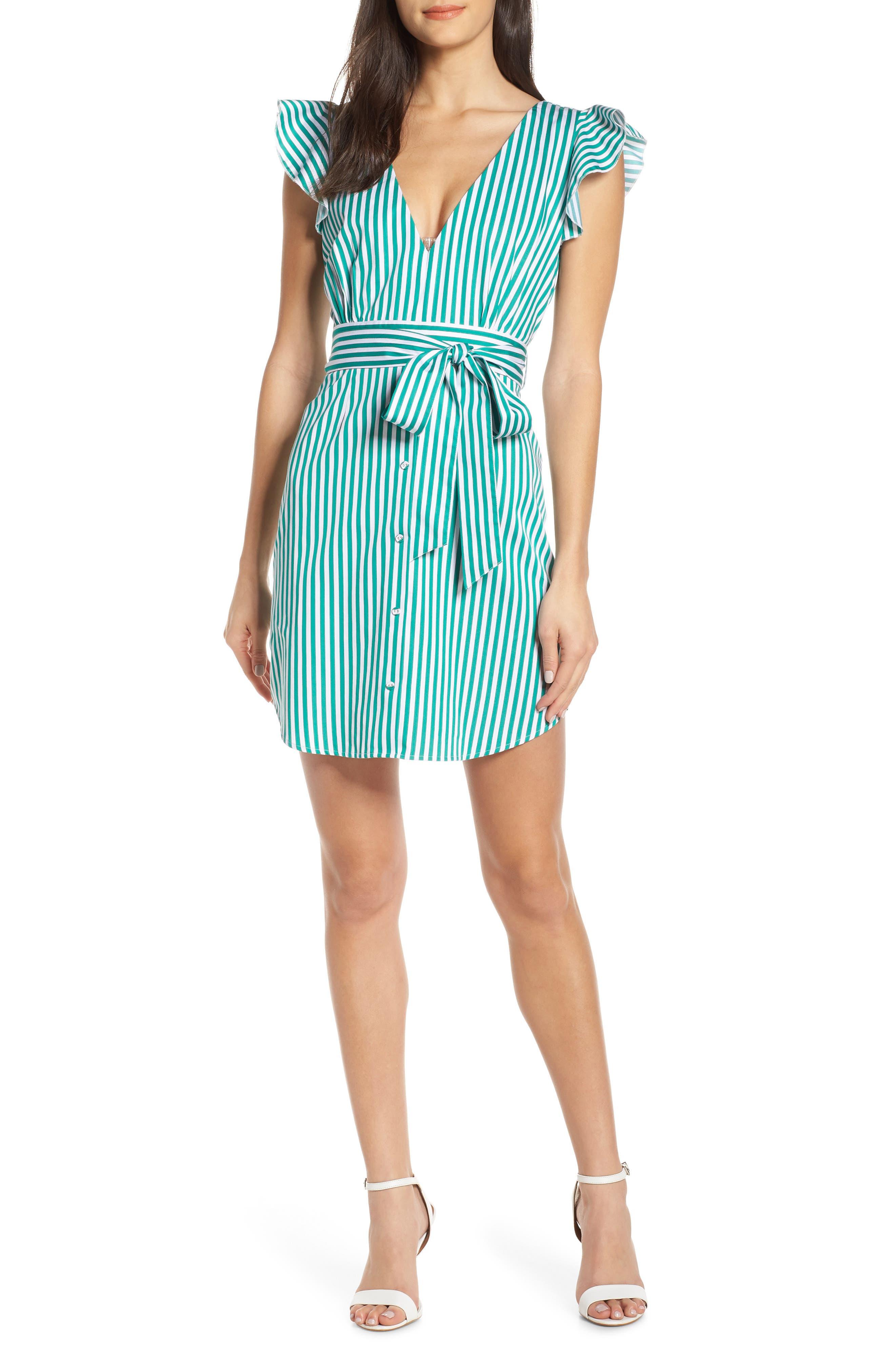 BB DAKOTA, Peppermint Stripe Dress, Main thumbnail 1, color, MISTY JADE