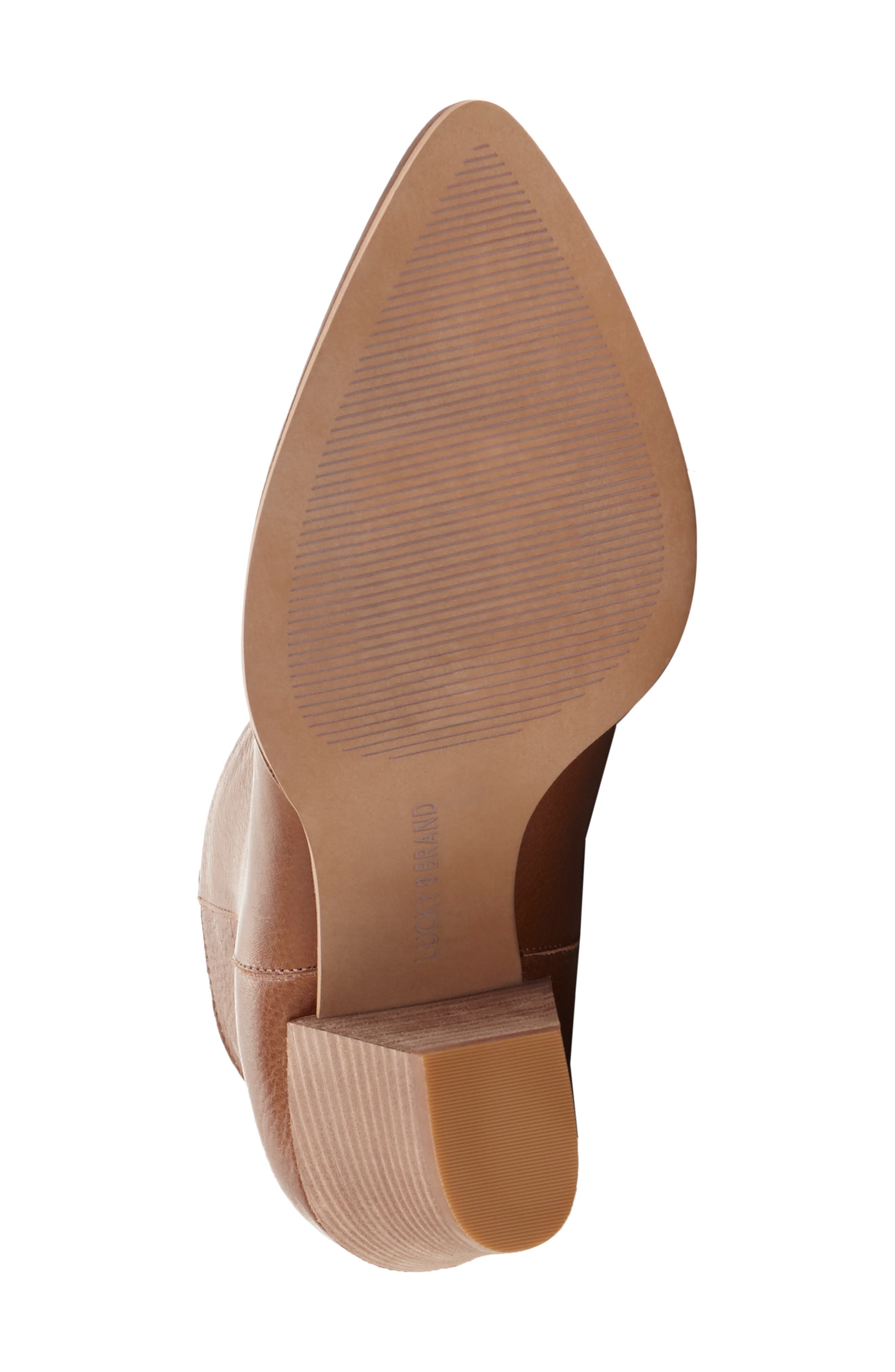 LUCKY BRAND, Adalan Bootie, Alternate thumbnail 6, color, MACAROON LEATHER