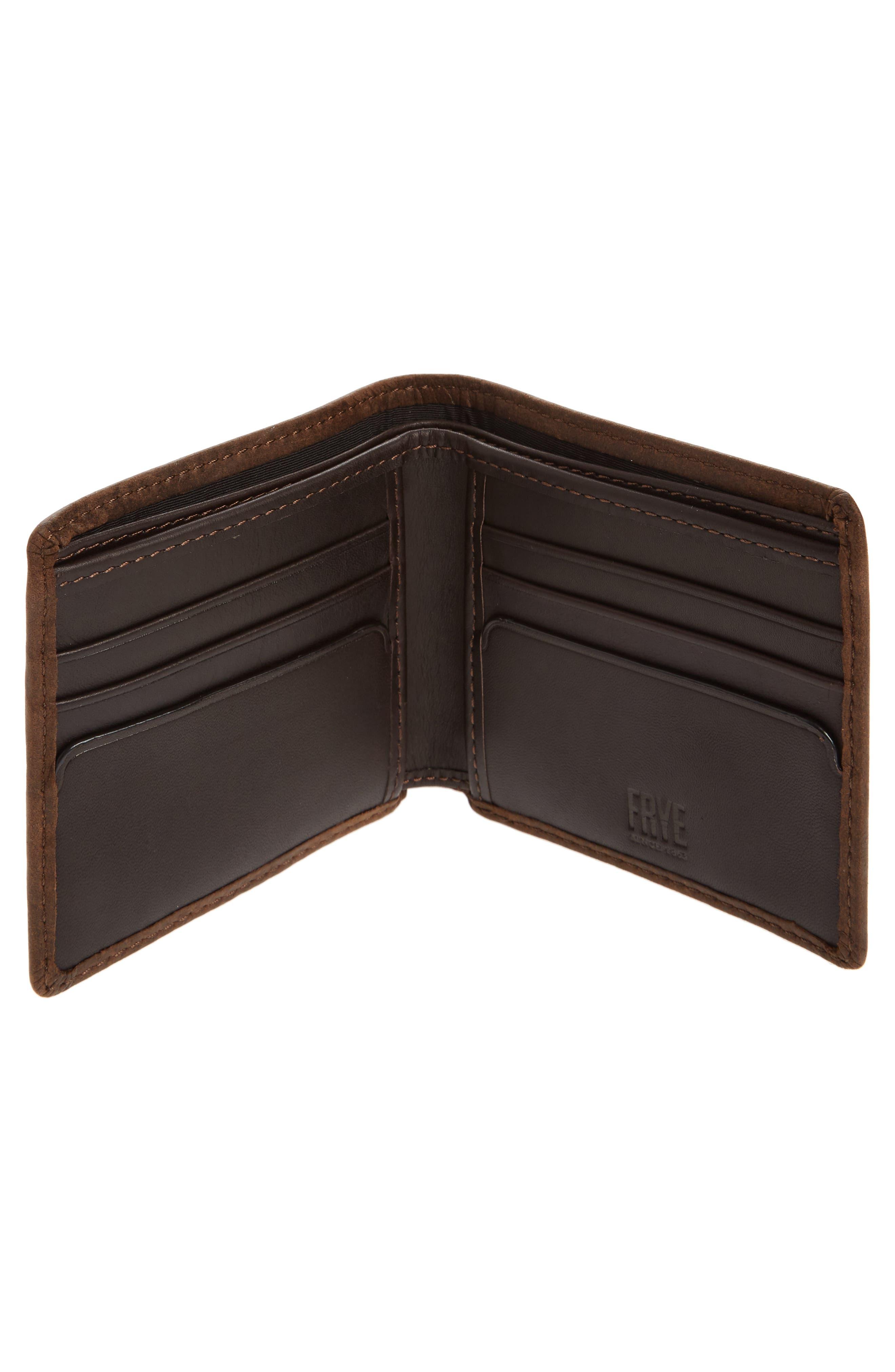 FRYE, Oliver Leather Wallet, Alternate thumbnail 3, color, DARK BROWN