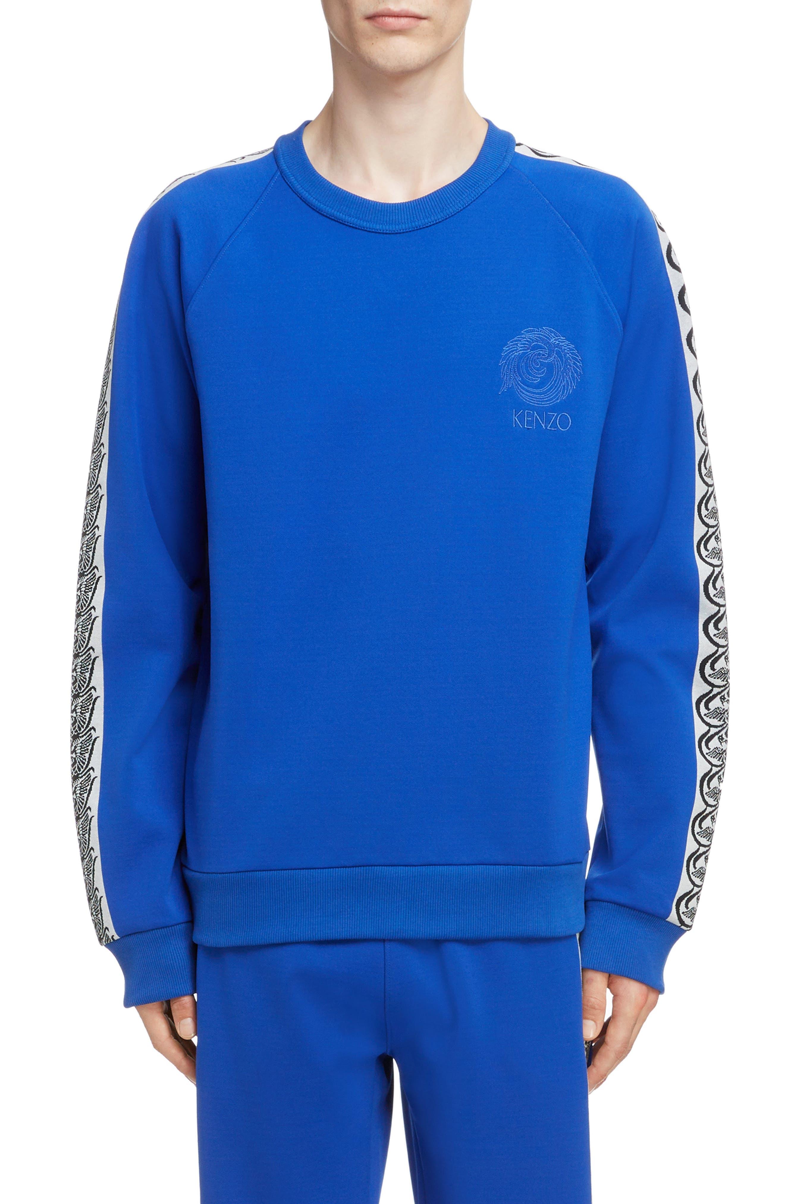 KENZO, Jacquard Raglan Sweatshirt, Main thumbnail 1, color, FRENCH BLUE