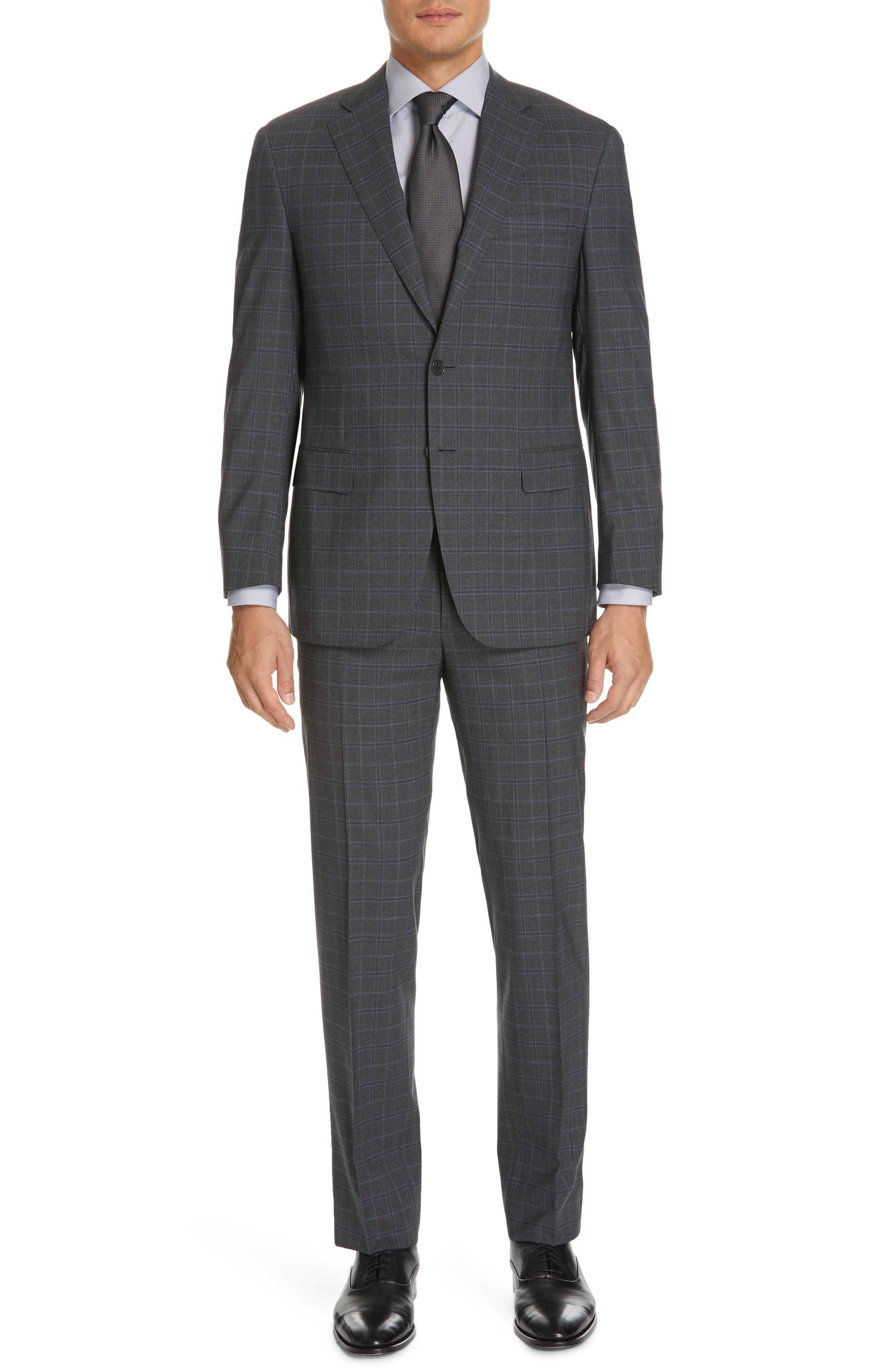 CANALI Sienna Classic Fit Plaid Wool Suit, Main, color, CHARCOAL