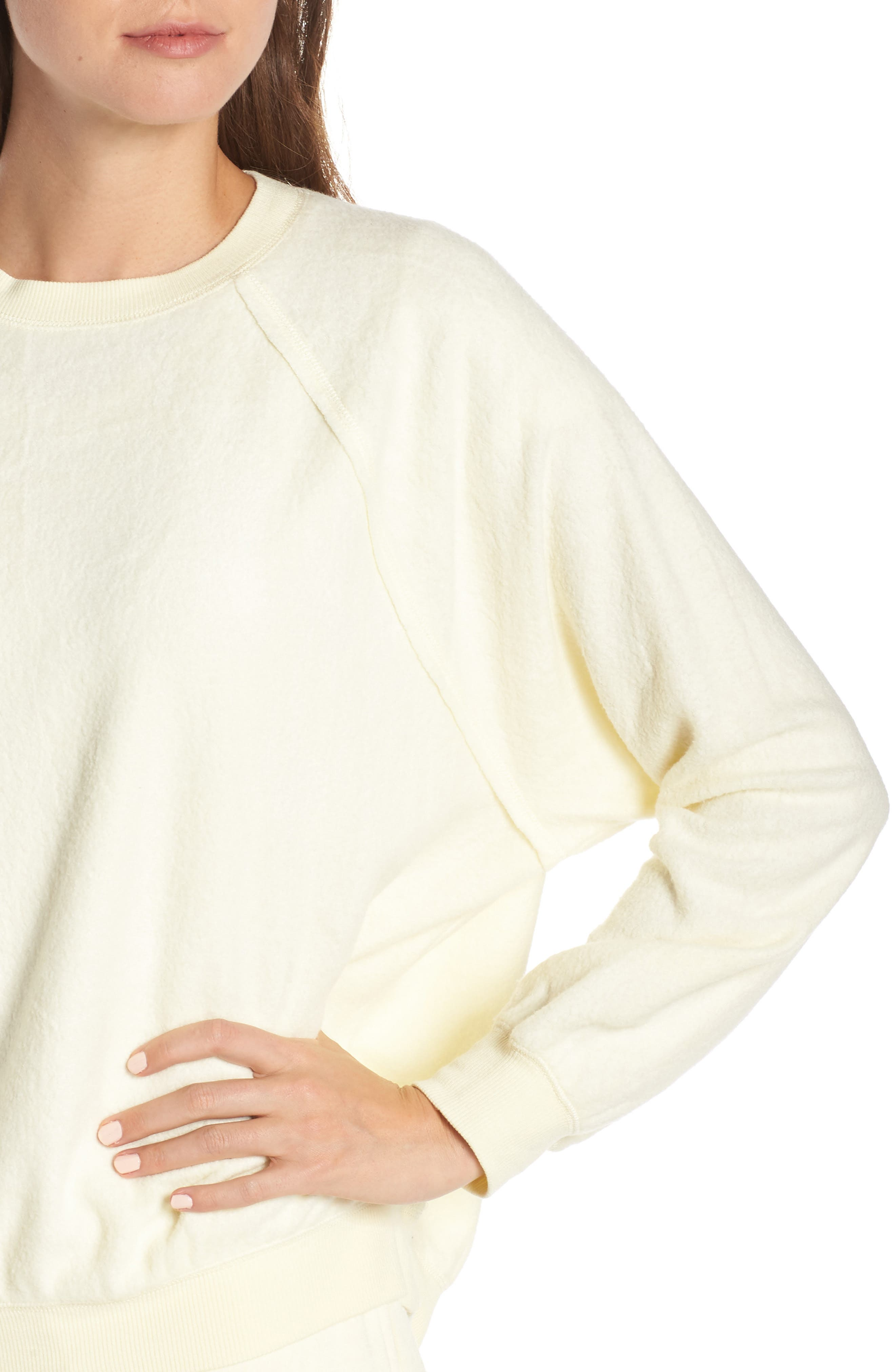 SOMETHING NAVY, Batwing Fleece Pullover, Alternate thumbnail 5, color, YELLOW FROST