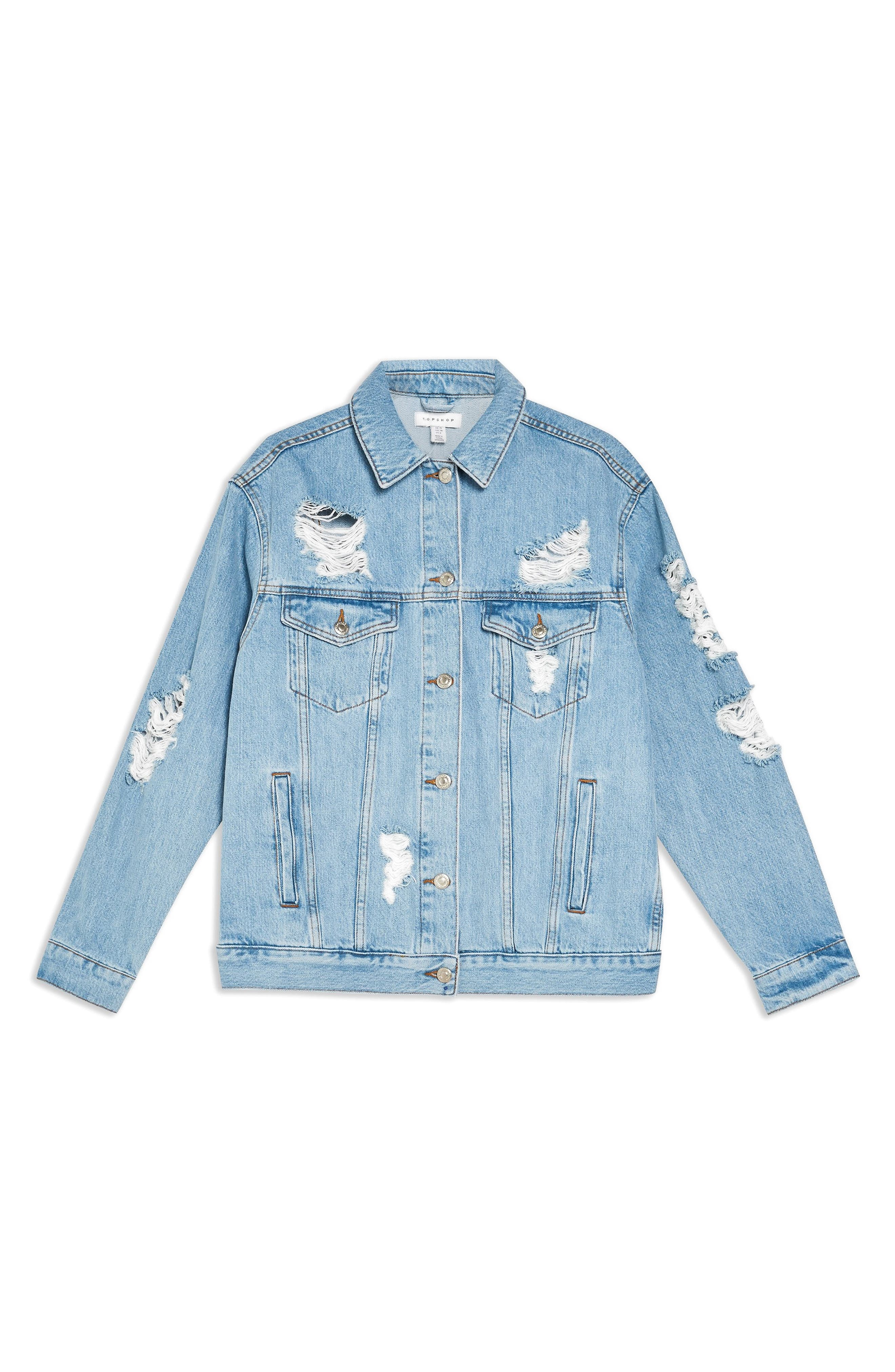 TOPSHOP, Ripped Denim Jacket, Alternate thumbnail 4, color, MID DENIM