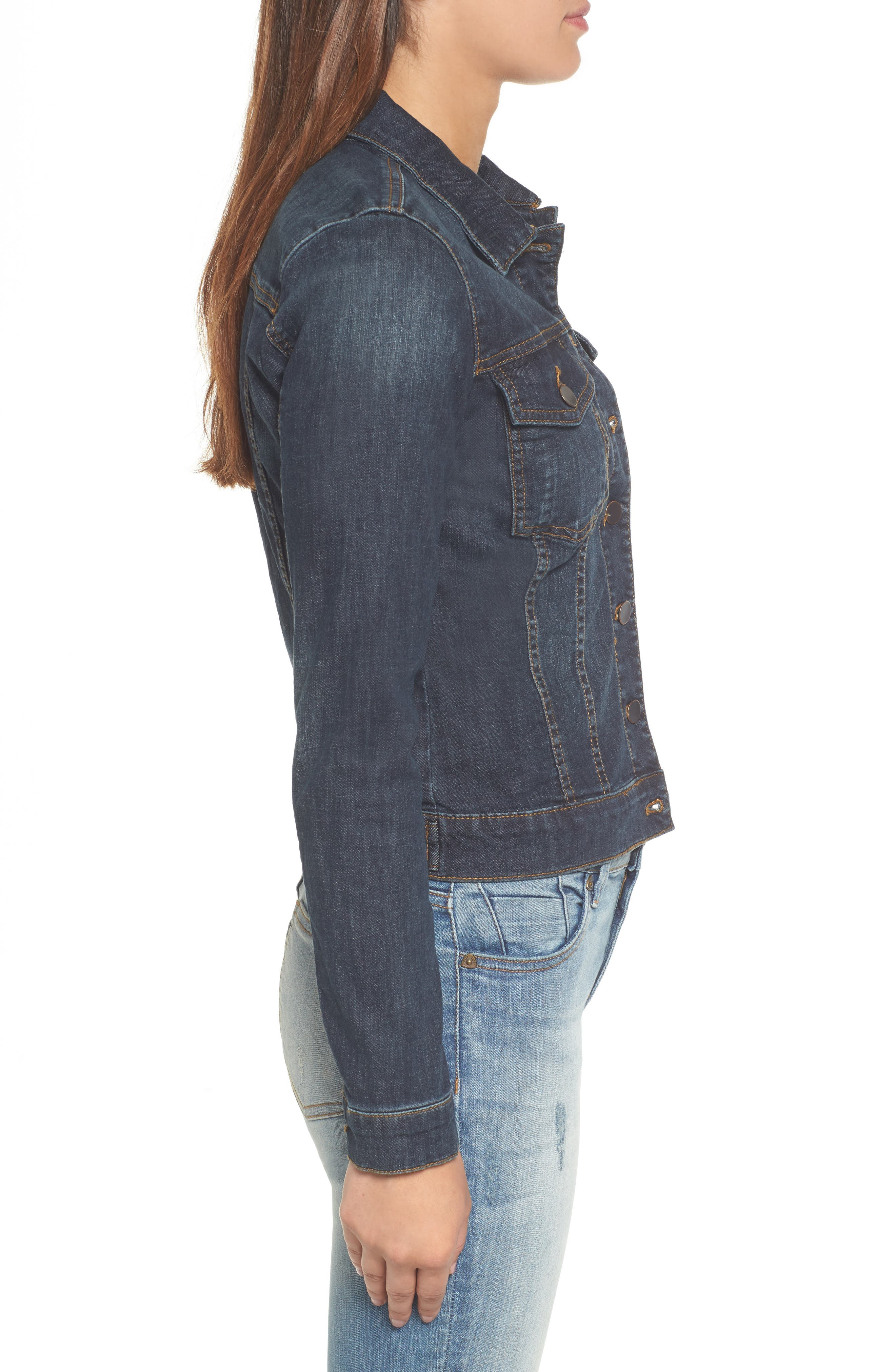 KUT FROM THE KLOTH, 'Helena' Denim Jacket, Alternate thumbnail 4, color, GRATITUDE