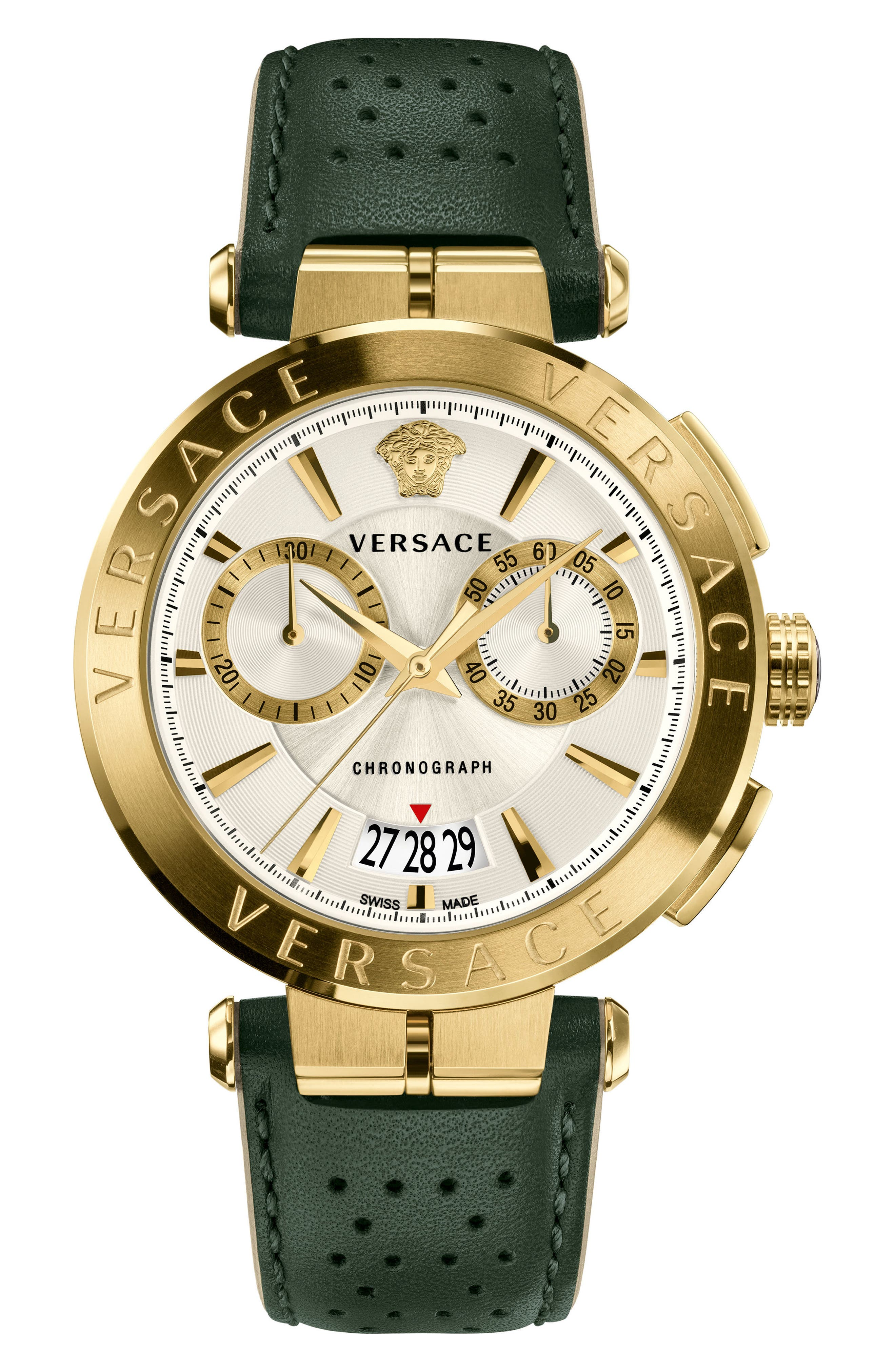 VERSACE Aion Chronograph Leather Strap Watch, 45mm, Main, color, GREY/ SILVER/ GOLD