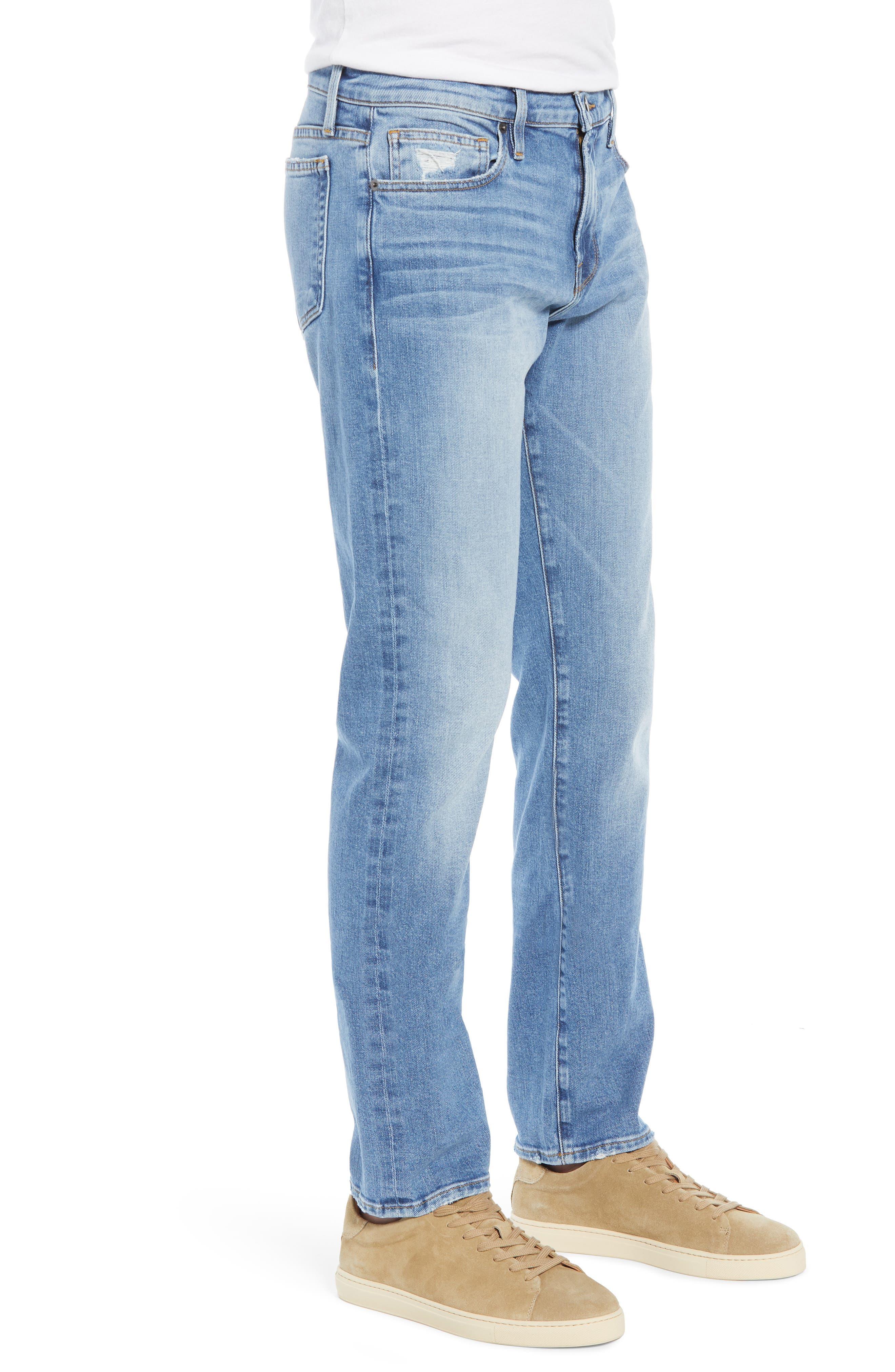 FRAME, L'Homme Slim Fit Jeans, Alternate thumbnail 4, color, BLUE BAY