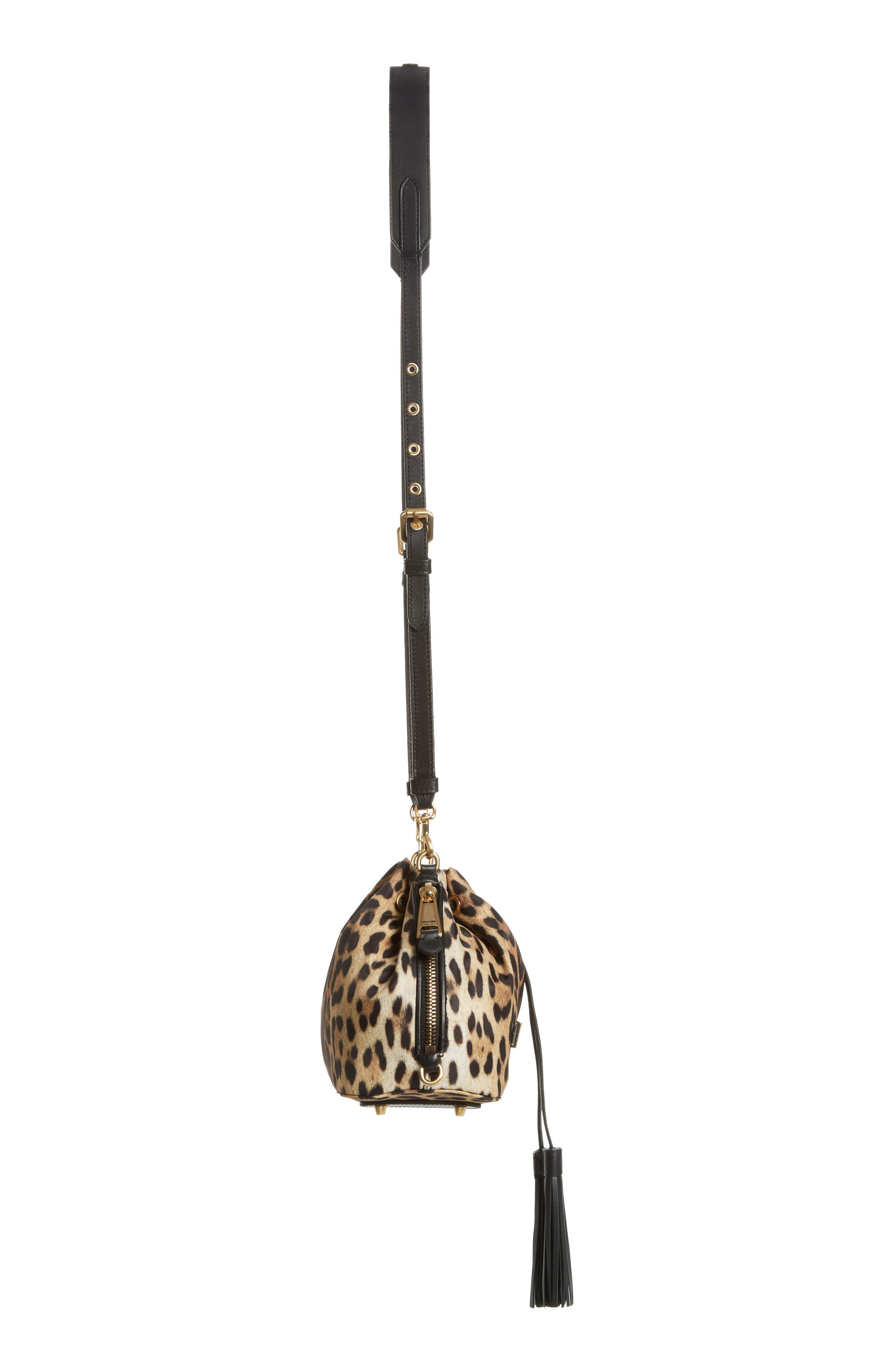 MOSCHINO, Leopard Print Nylon Convertible Bucket Bag, Alternate thumbnail 6, color, BLACK