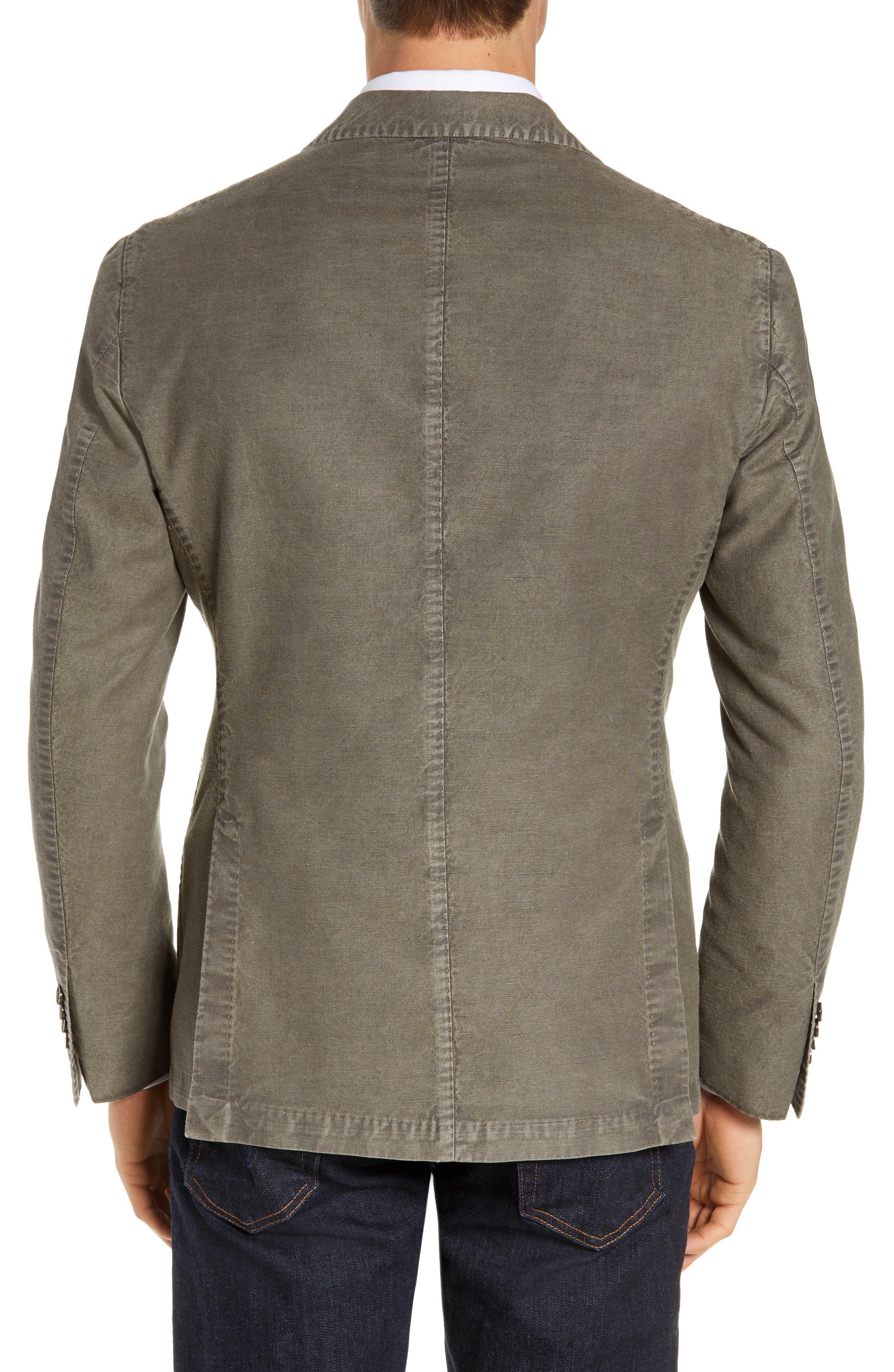 L.B.M. 1911, Lubiam Trim Fit Solid Cotton & Linen Sport Coat, Alternate thumbnail 2, color, MEDIUM BROWN