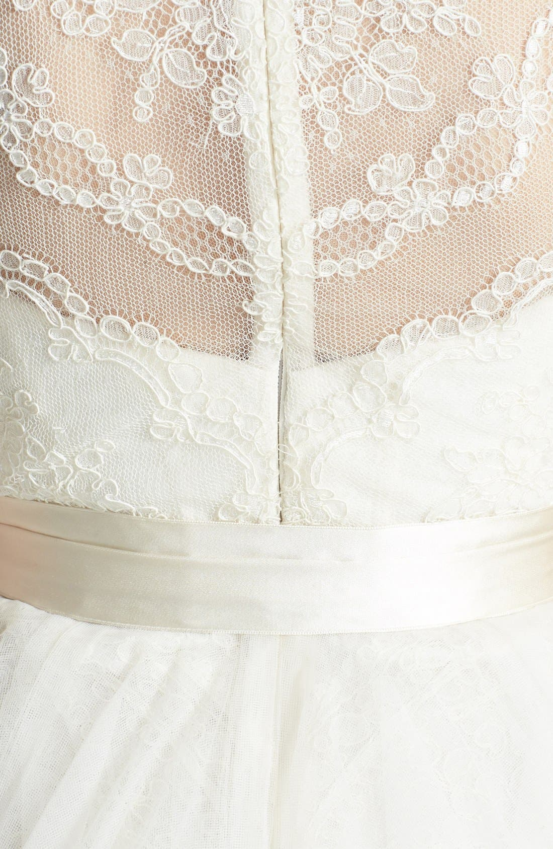 AMSALE, Quinn French Lace Illusion Bodice Tulle Wedding Dress, Alternate thumbnail 5, color, 900