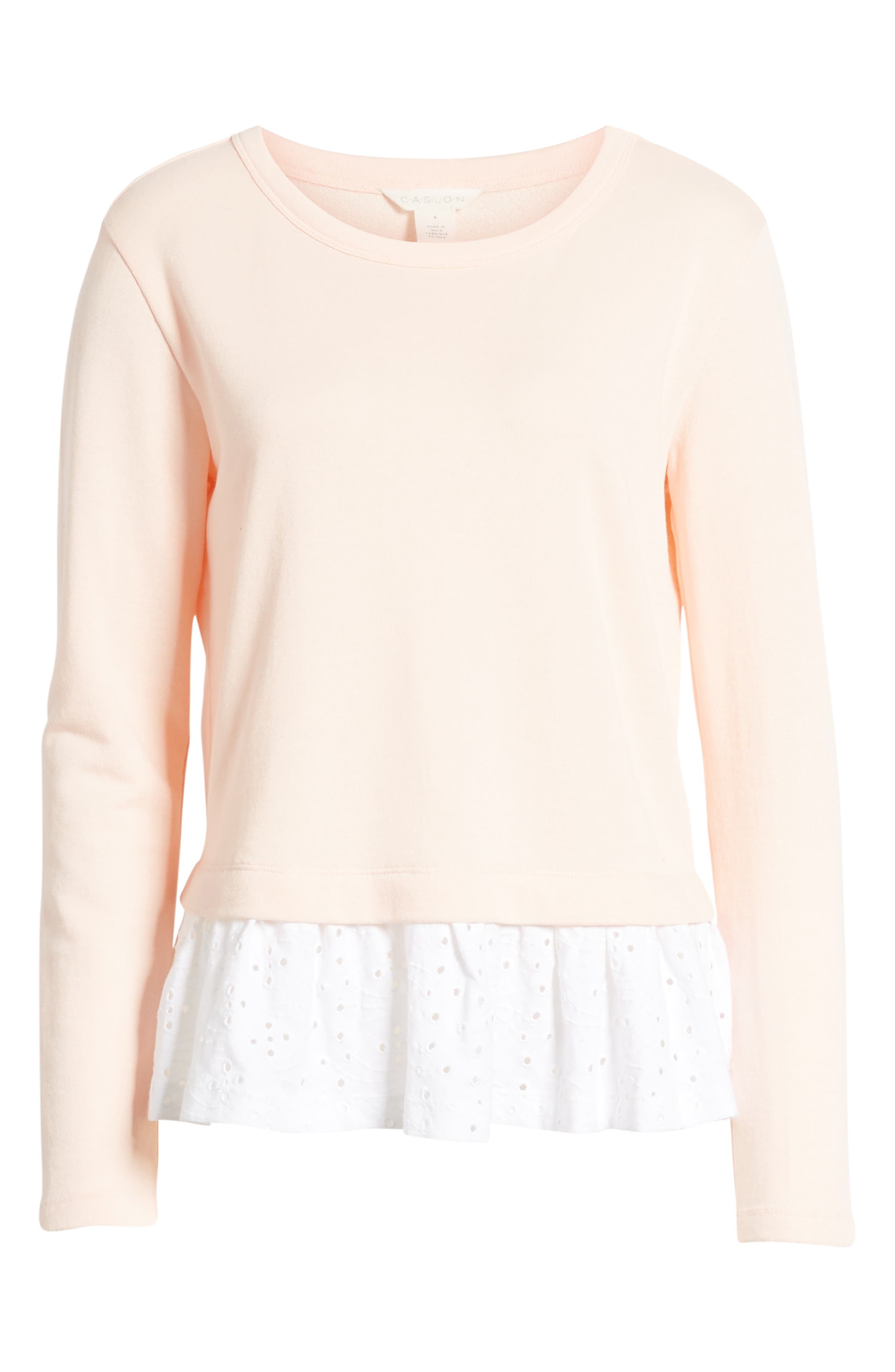 CASLON<SUP>®</SUP>, Eyelet Peplum Sweatshirt, Alternate thumbnail 6, color, PINK- WHITE