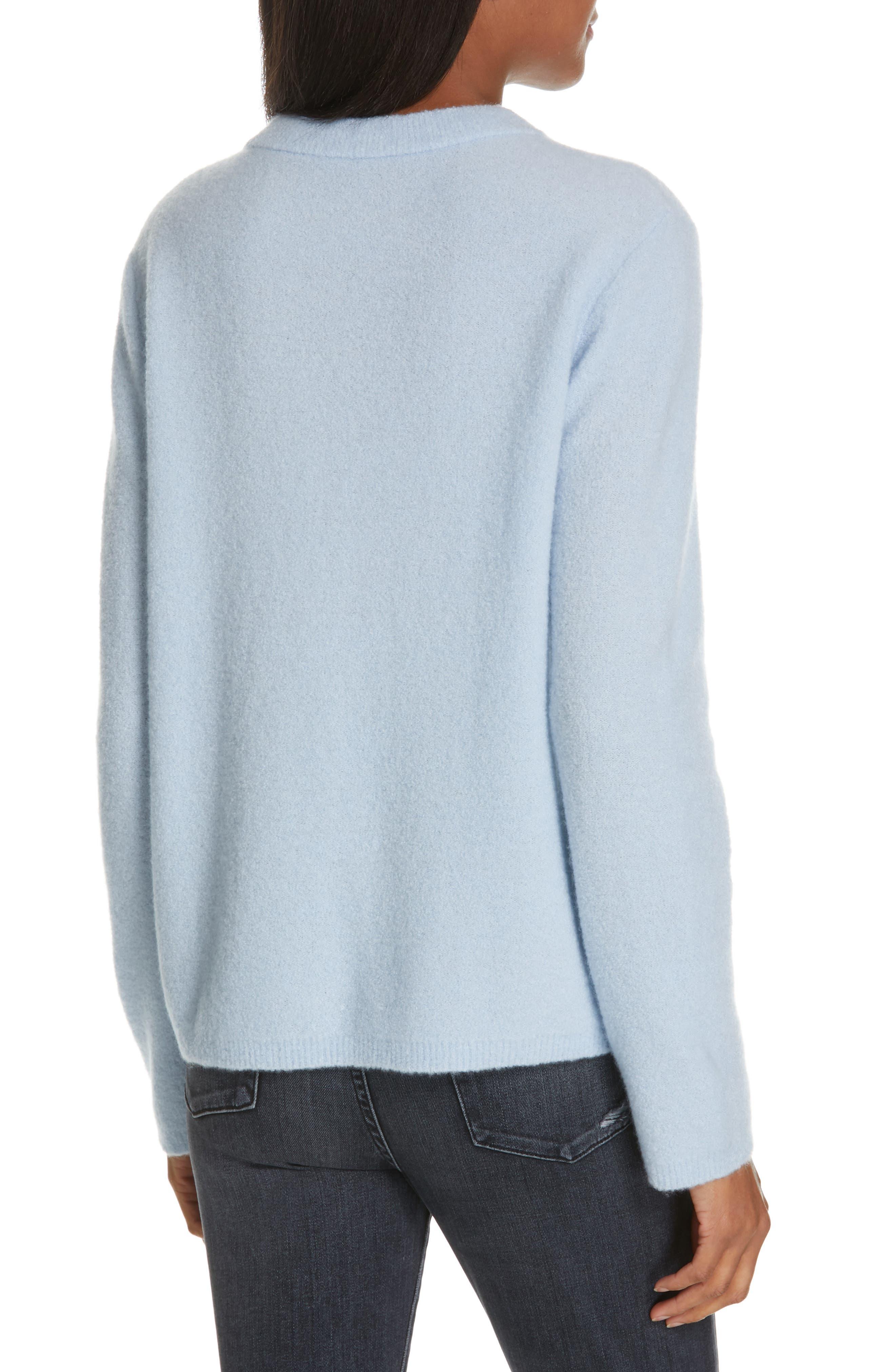 NORDSTROM SIGNATURE, Cashmere Blend Bouclé Sweater, Alternate thumbnail 2, color, BLUE CASHMERE
