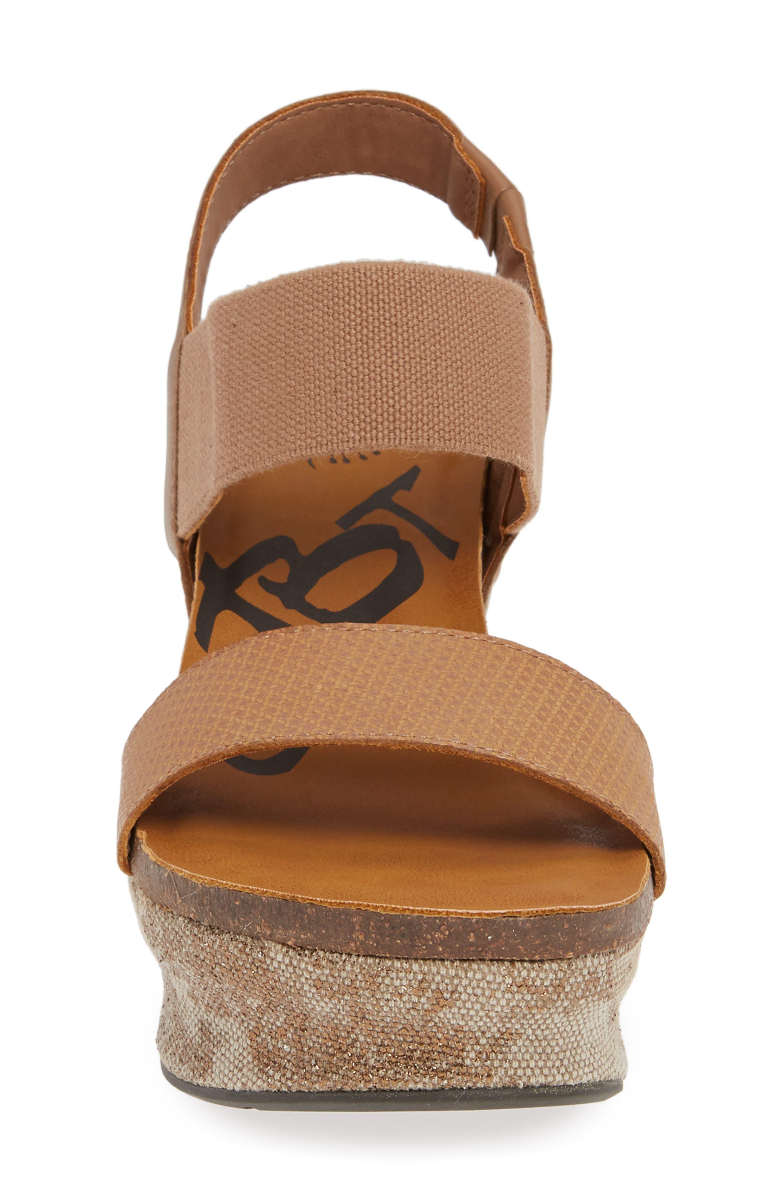 OTBT, 'Bushnell' Wedge Sandal, Alternate thumbnail 4, color, TAUPE LEATHER