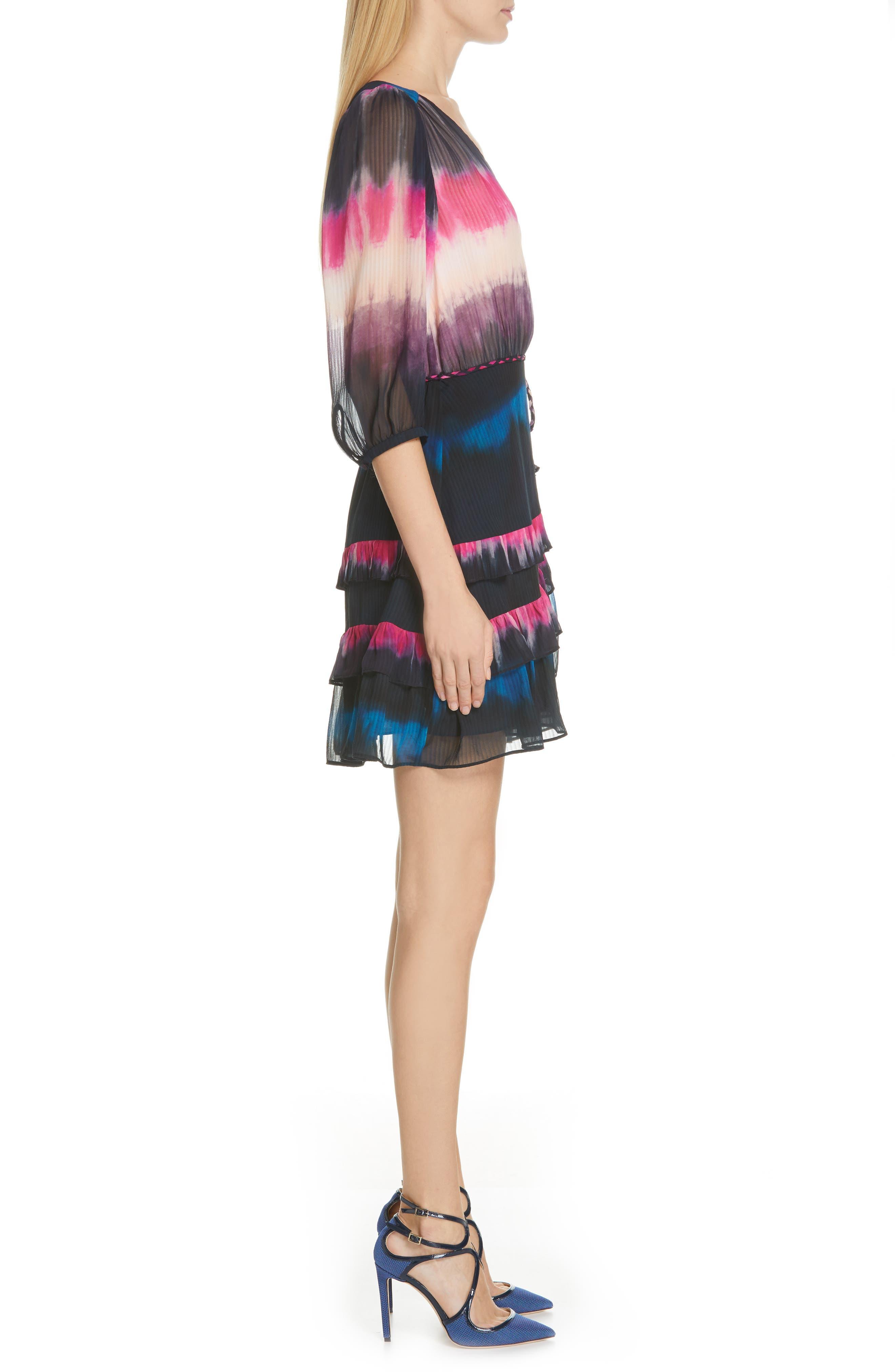 TANYA TAYLOR, Valeria Tie Dye Silk Faux Wrap Dress, Alternate thumbnail 3, color, TIE DYE STRIPE