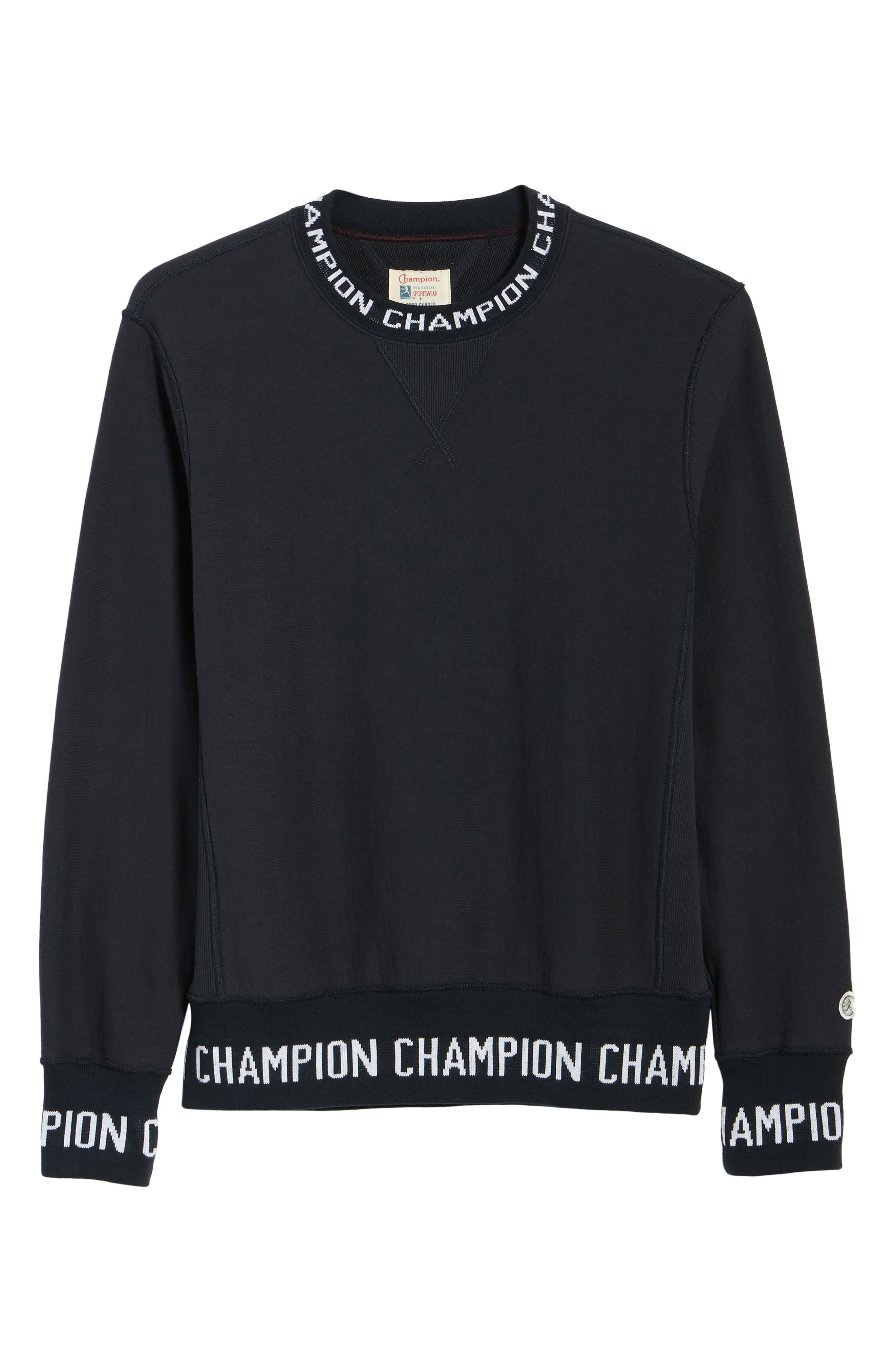 TODD SNYDER + CHAMPION, Todd Snyder x Champion Ribbed Logo Sweatshirt, Alternate thumbnail 6, color, NAVY