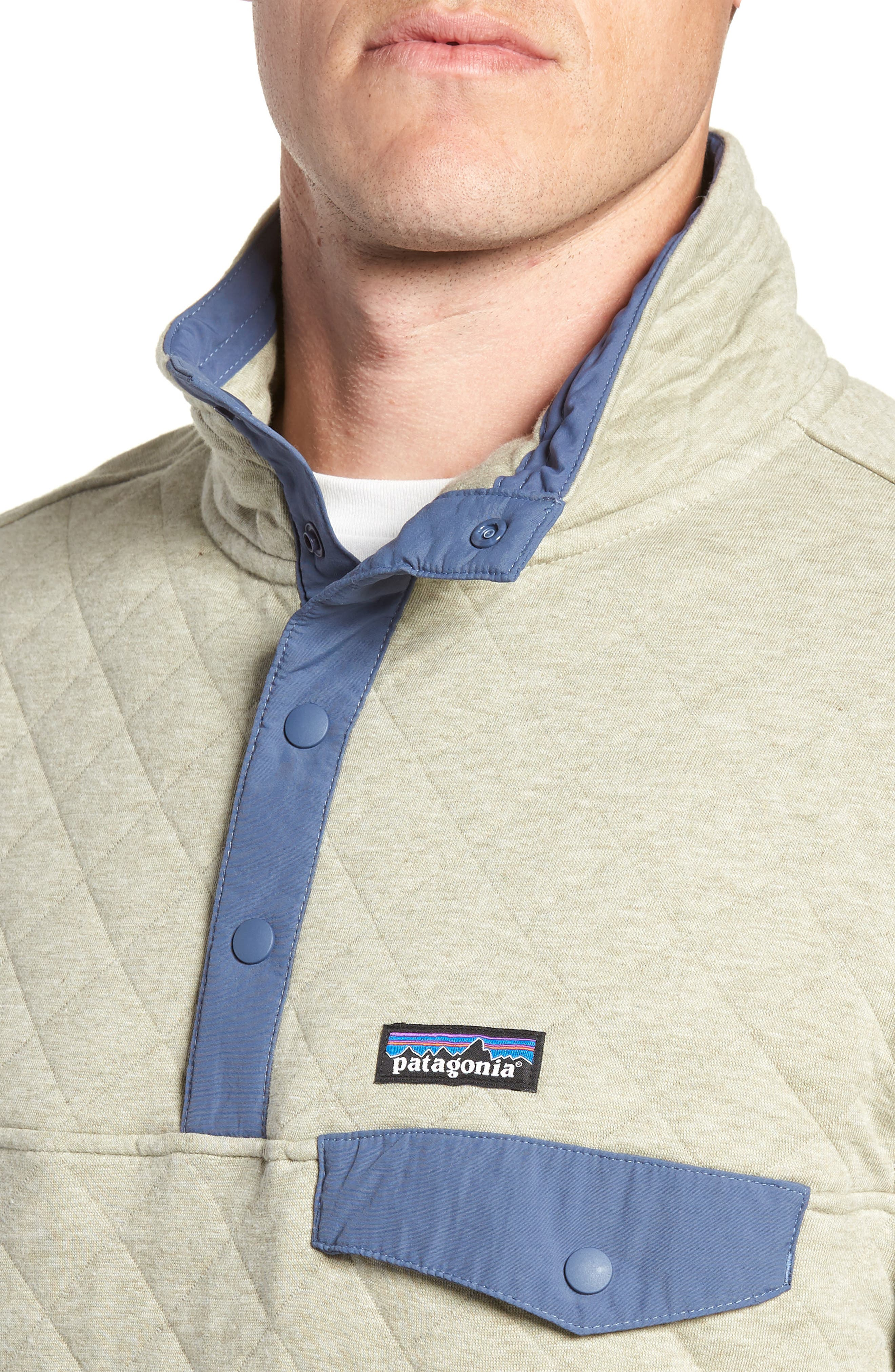 PATAGONIA, Snap-T<sup>®</sup> Quilted Fleece Pullover, Alternate thumbnail 5, color, SHALE