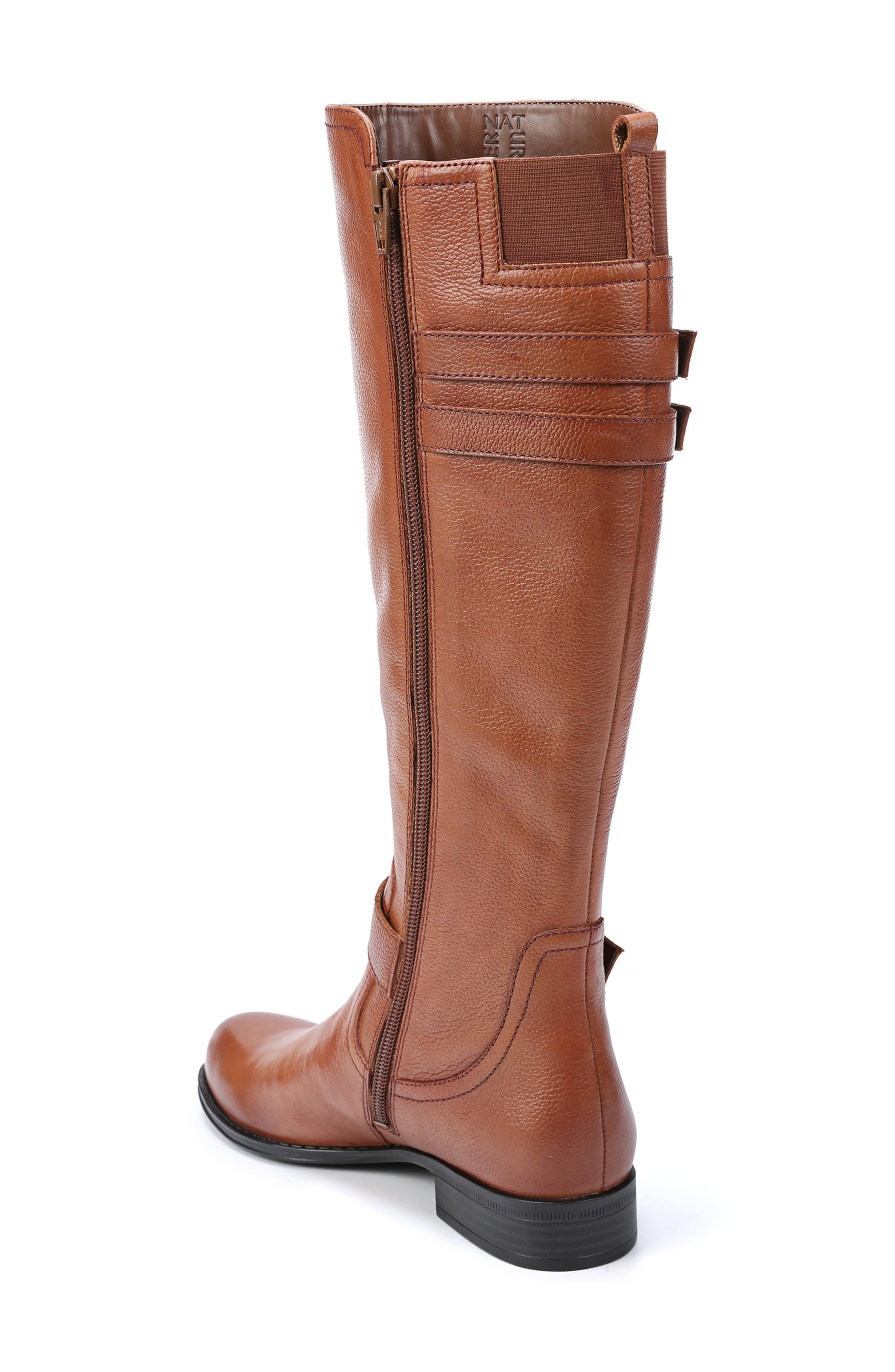 NATURALIZER, Jessie Knee High Riding Boot, Alternate thumbnail 2, color, BANANA BREAD LEATHER