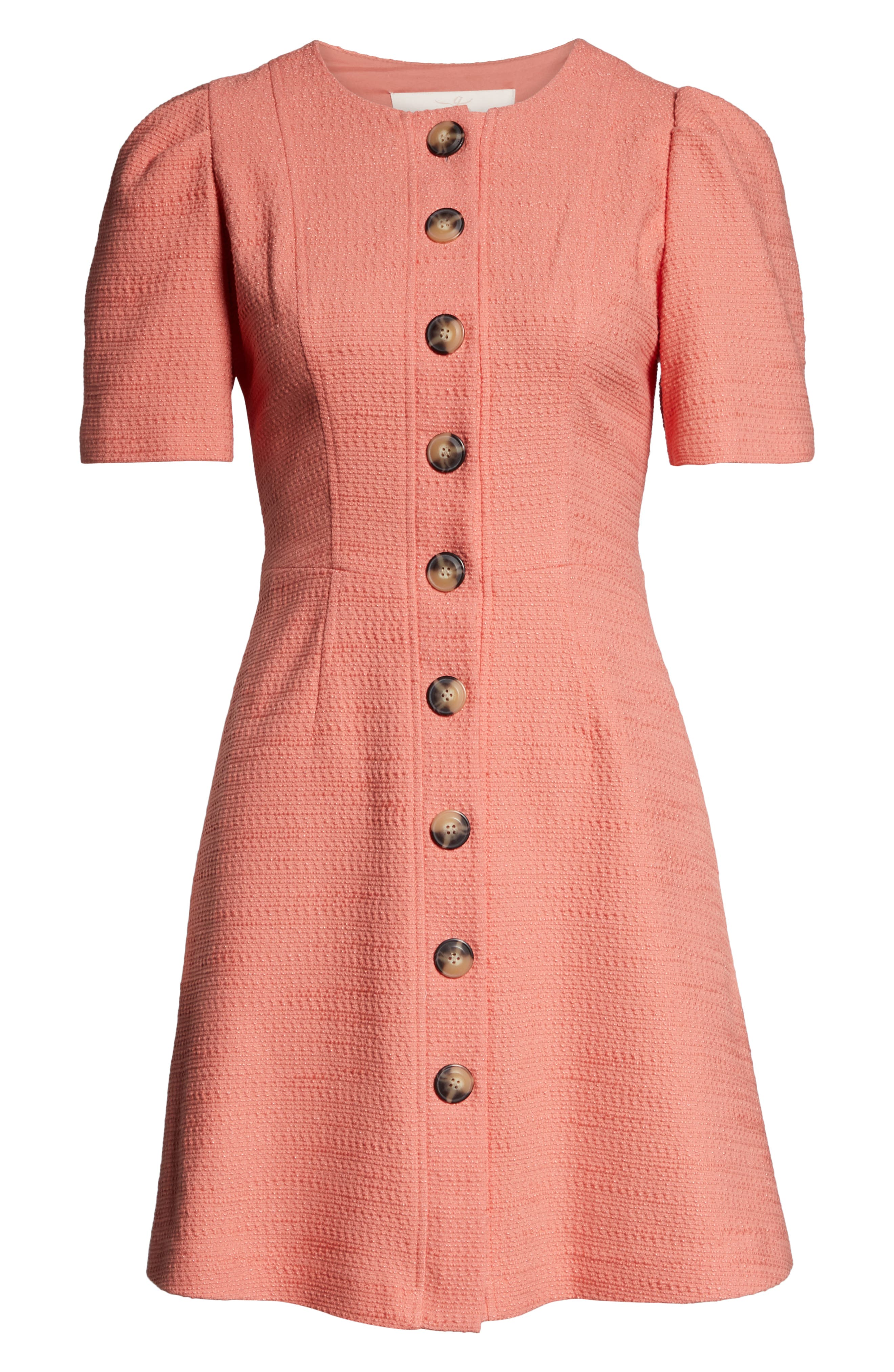 GAL MEETS GLAM COLLECTION, Kathleen Button Front A-Line Dress, Alternate thumbnail 5, color, SALMON