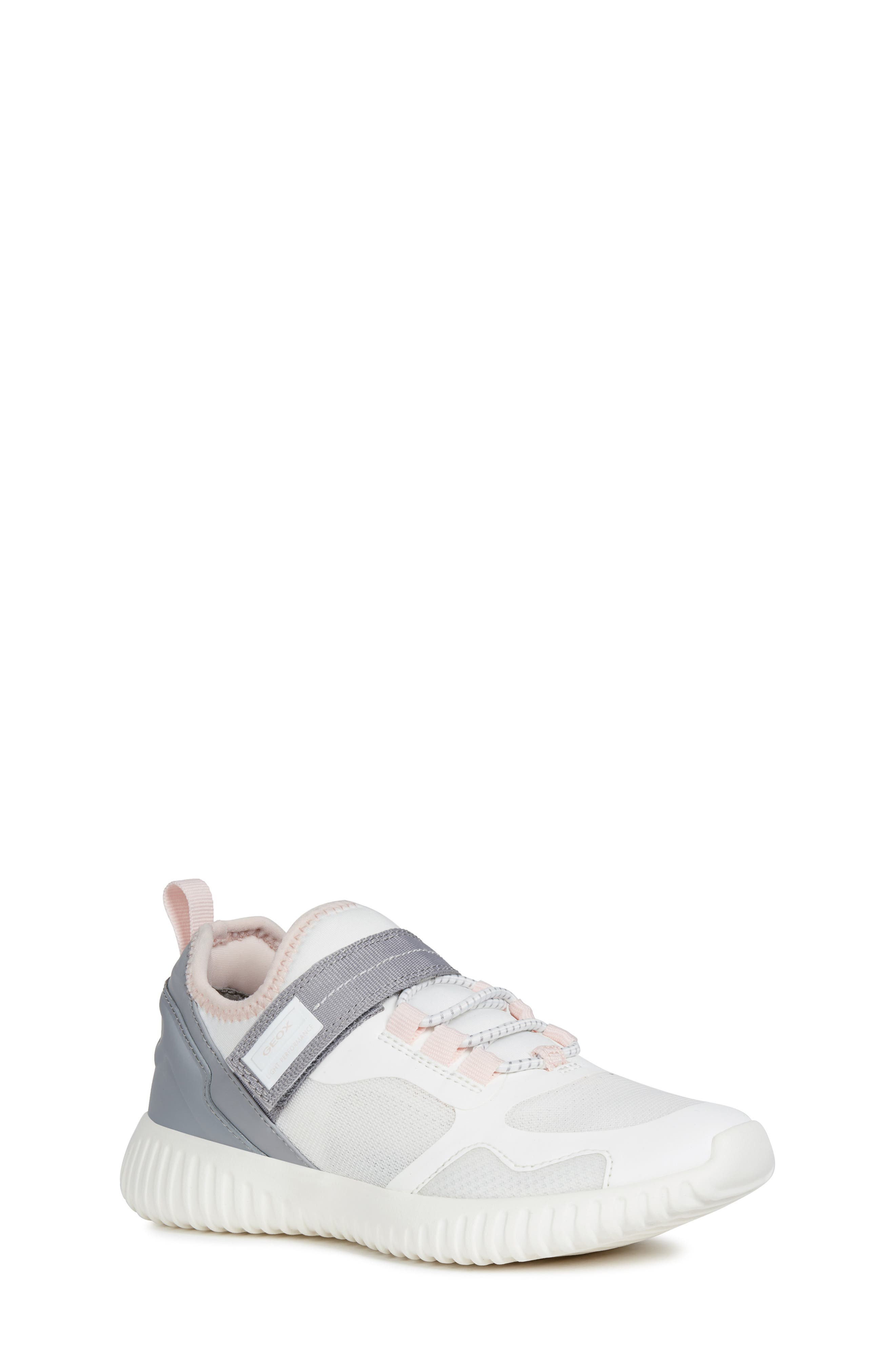 GEOX, Waviness Sneaker, Main thumbnail 1, color, WHITE/ GREY
