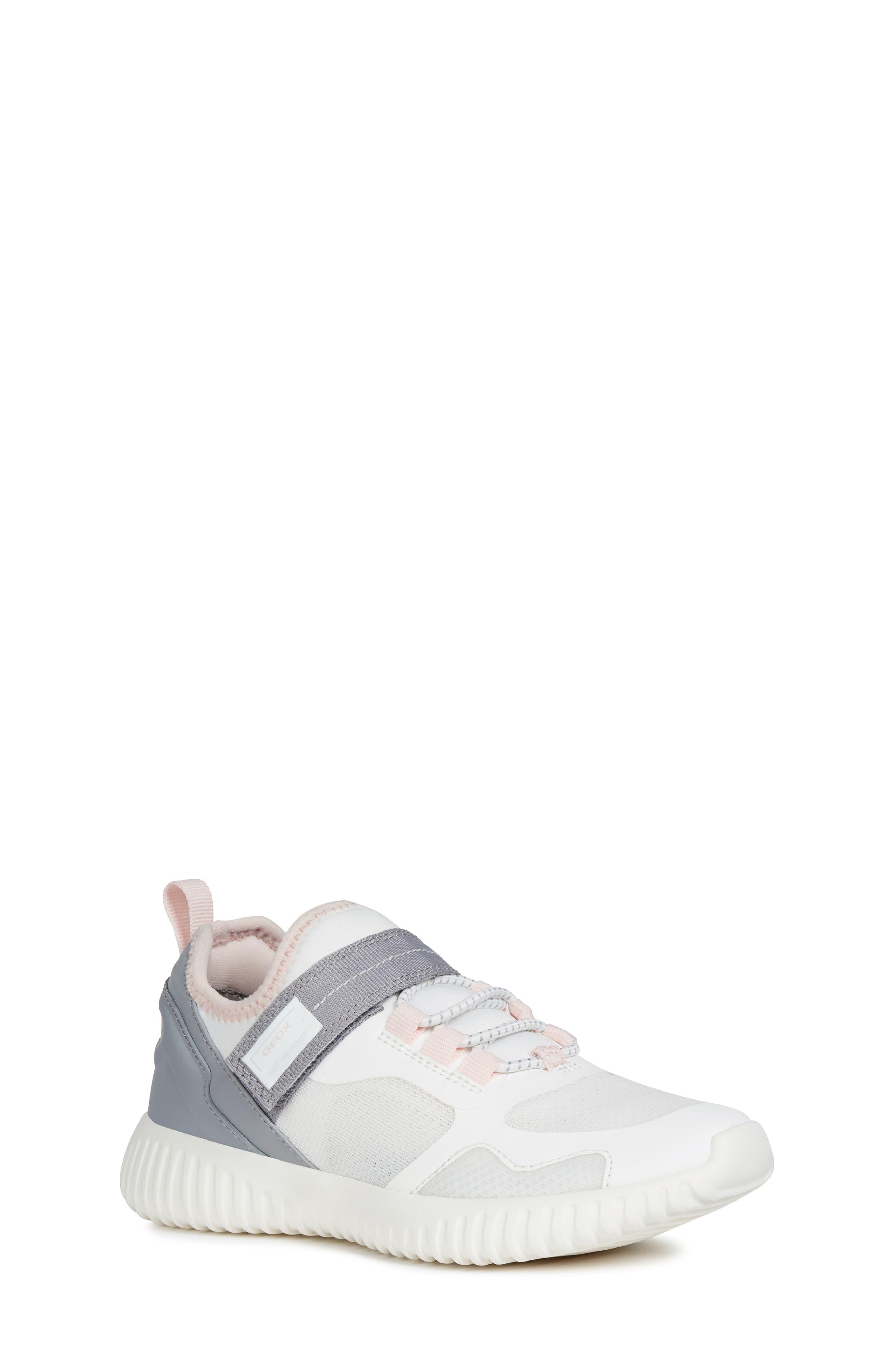 GEOX Waviness Sneaker, Main, color, WHITE/ GREY