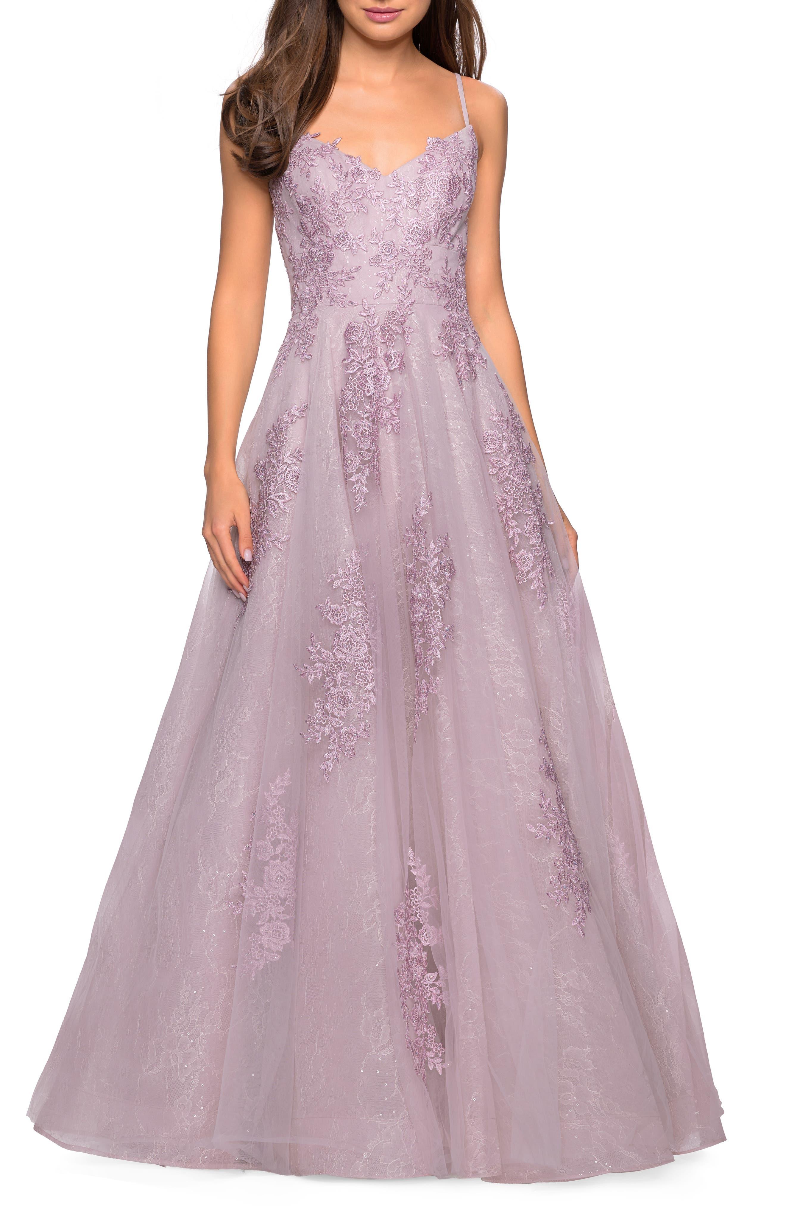 La Femme Lace A-Line Evening Dress, Pink