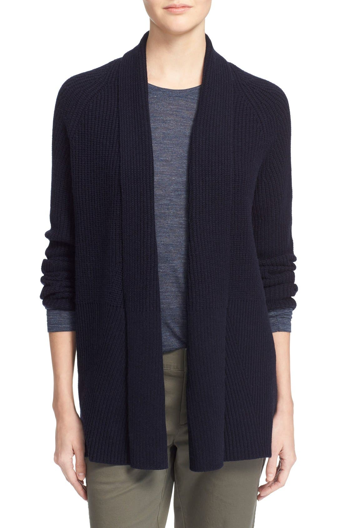VINCE, Directional Rib Wool & Cashmere Cardigan, Main thumbnail 1, color, 403