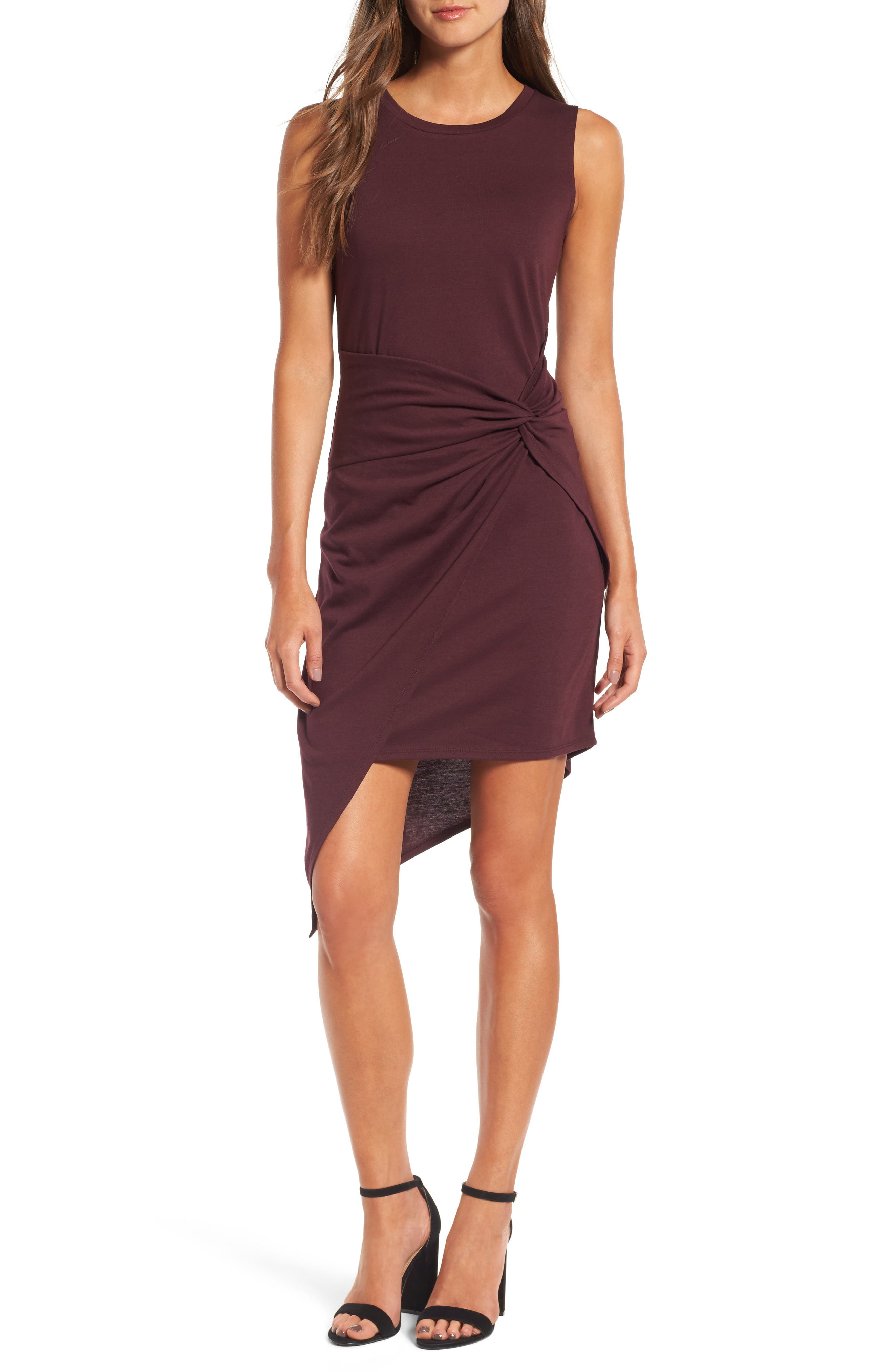 CHELSEA28 Twist Front Dress, Main, color, BURGUNDY STEM