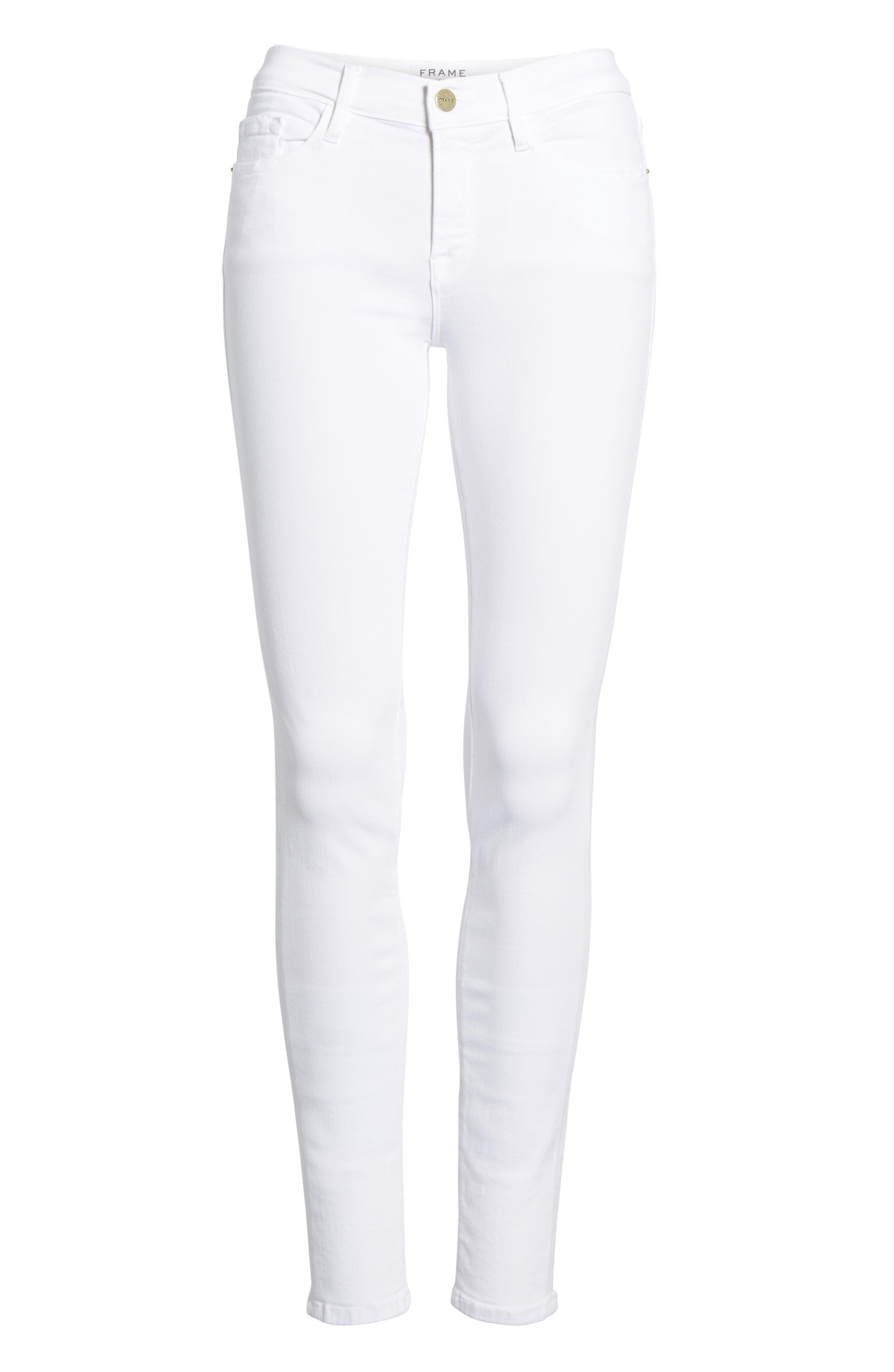 FRAME, Le Color Skinny Jeans, Alternate thumbnail 8, color, BLANC