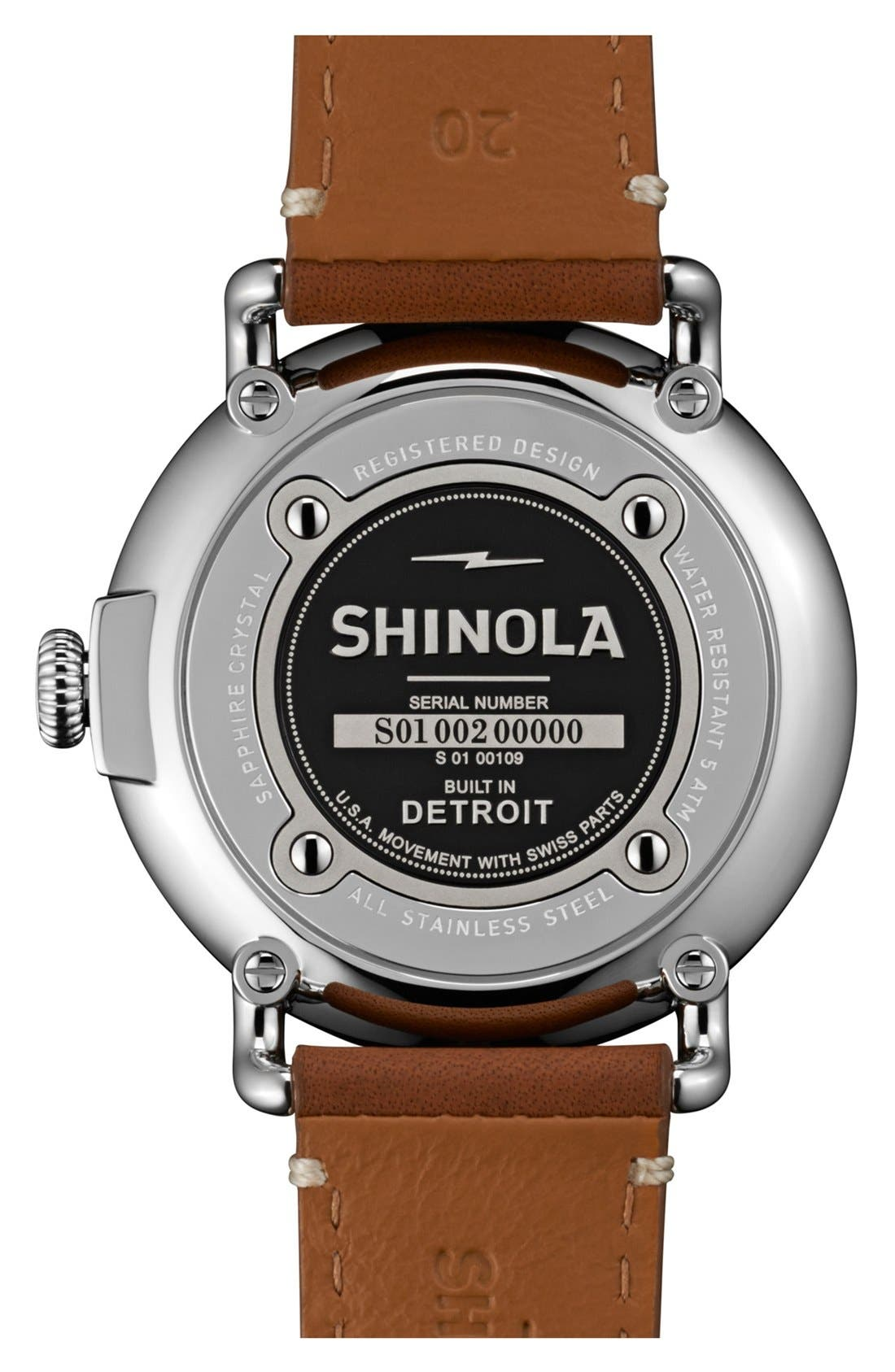 SHINOLA, 'The Runwell' Leather Strap Watch, 41mm, Alternate thumbnail 3, color, BROWN/ WHITE