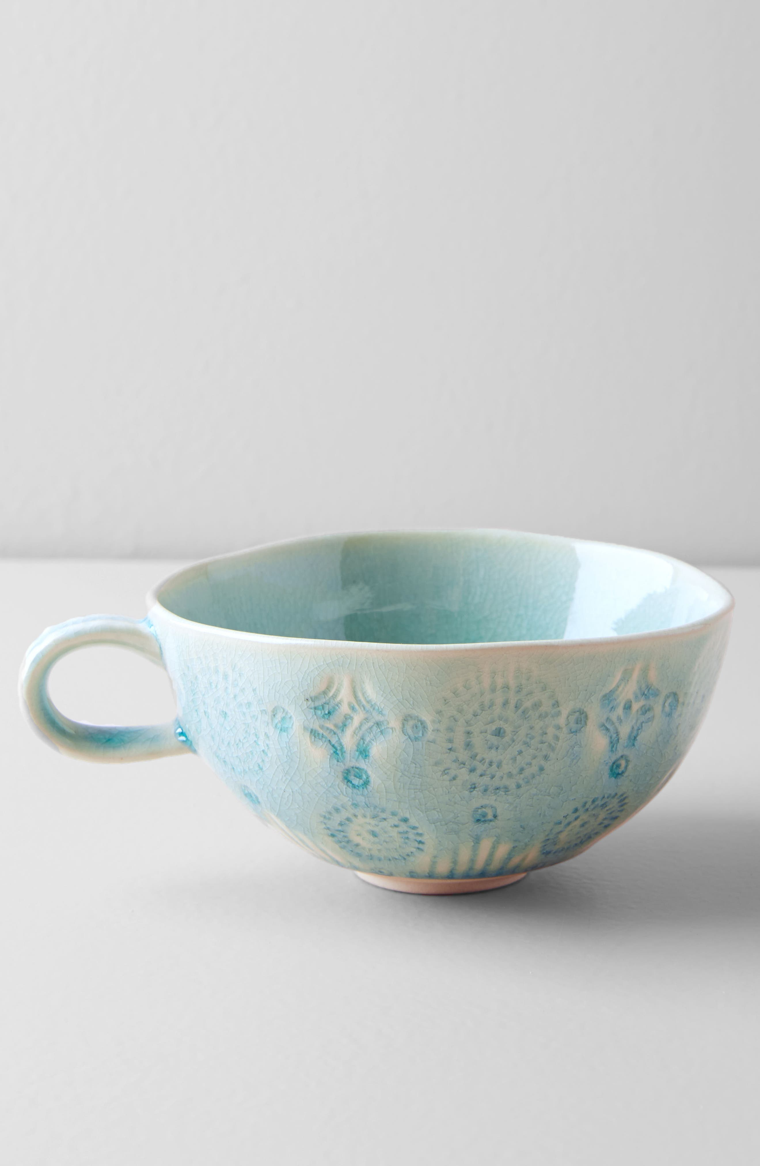 ANTHROPOLOGIE, Old Havana Stoneware Mug, Alternate thumbnail 2, color, MINT