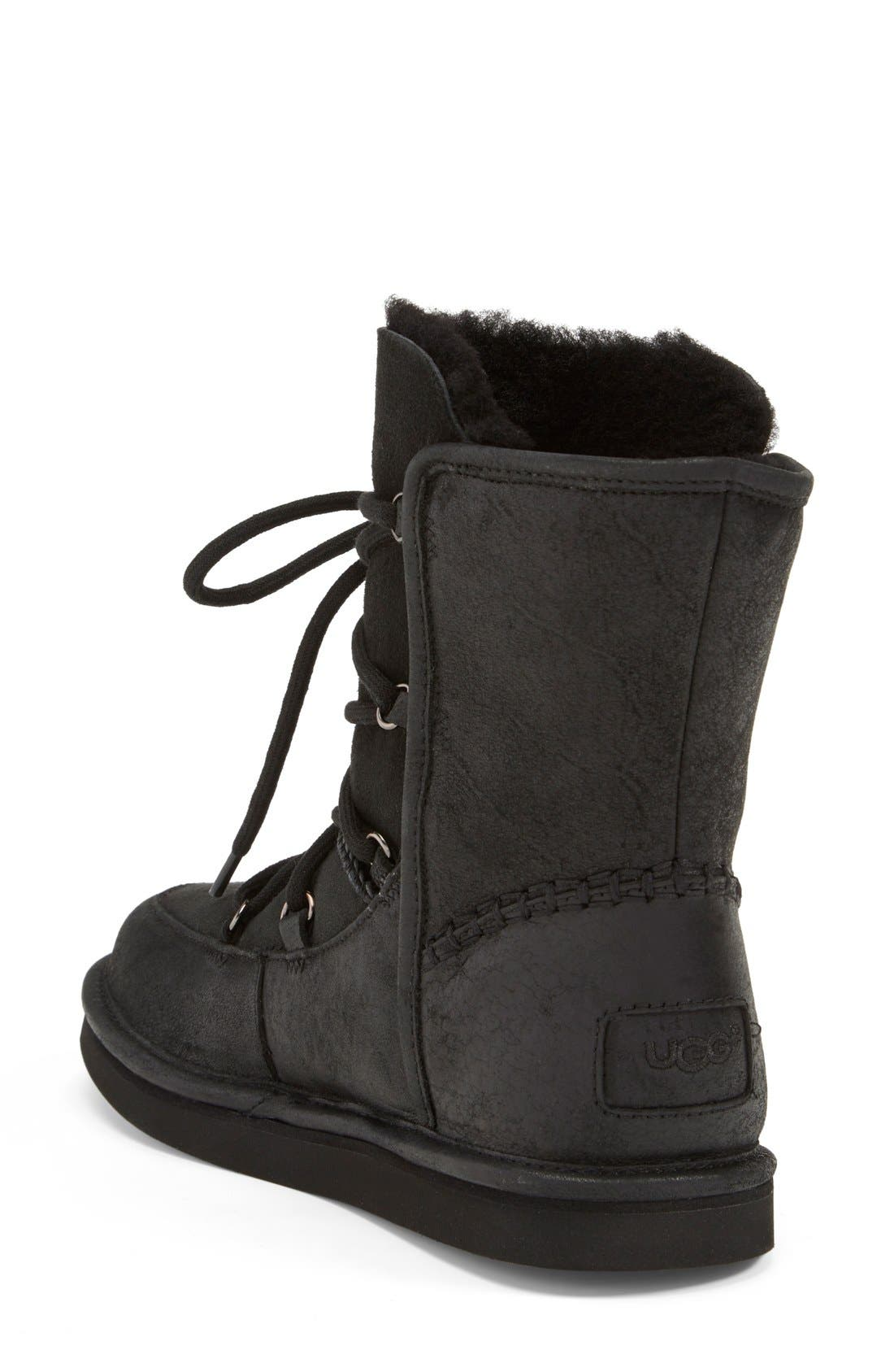 UGG<SUP>®</SUP>, Lodge Water Resistant Lace-Up Boot, Alternate thumbnail 3, color, 001