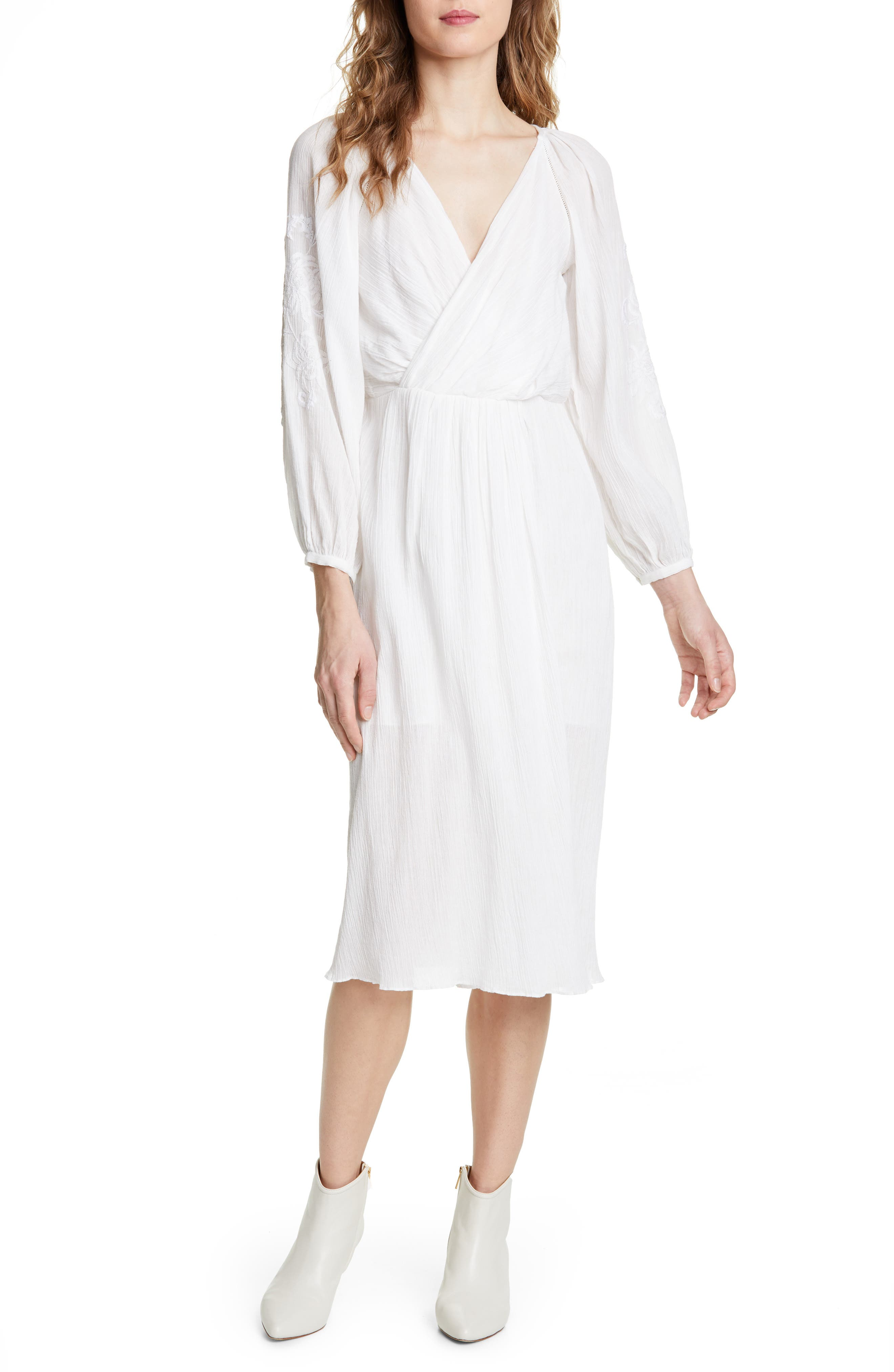 Joie Embroidered Long Sleeve Cotton Gauze Dress, Ivory