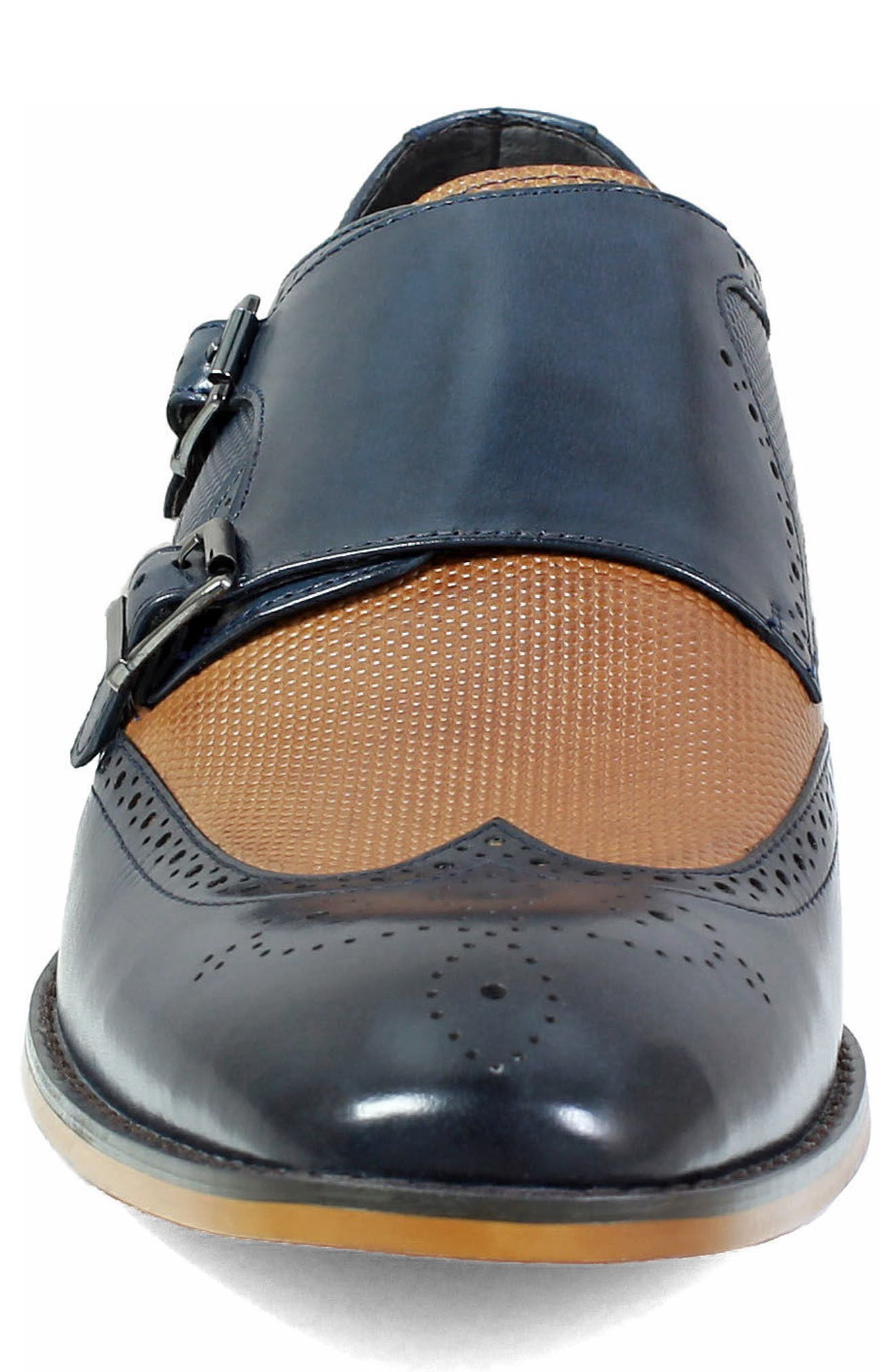 STACY ADAMS, Lavine Wingtip Monk Shoe, Alternate thumbnail 4, color, NAVY AND SADDLE TAN LEATHER